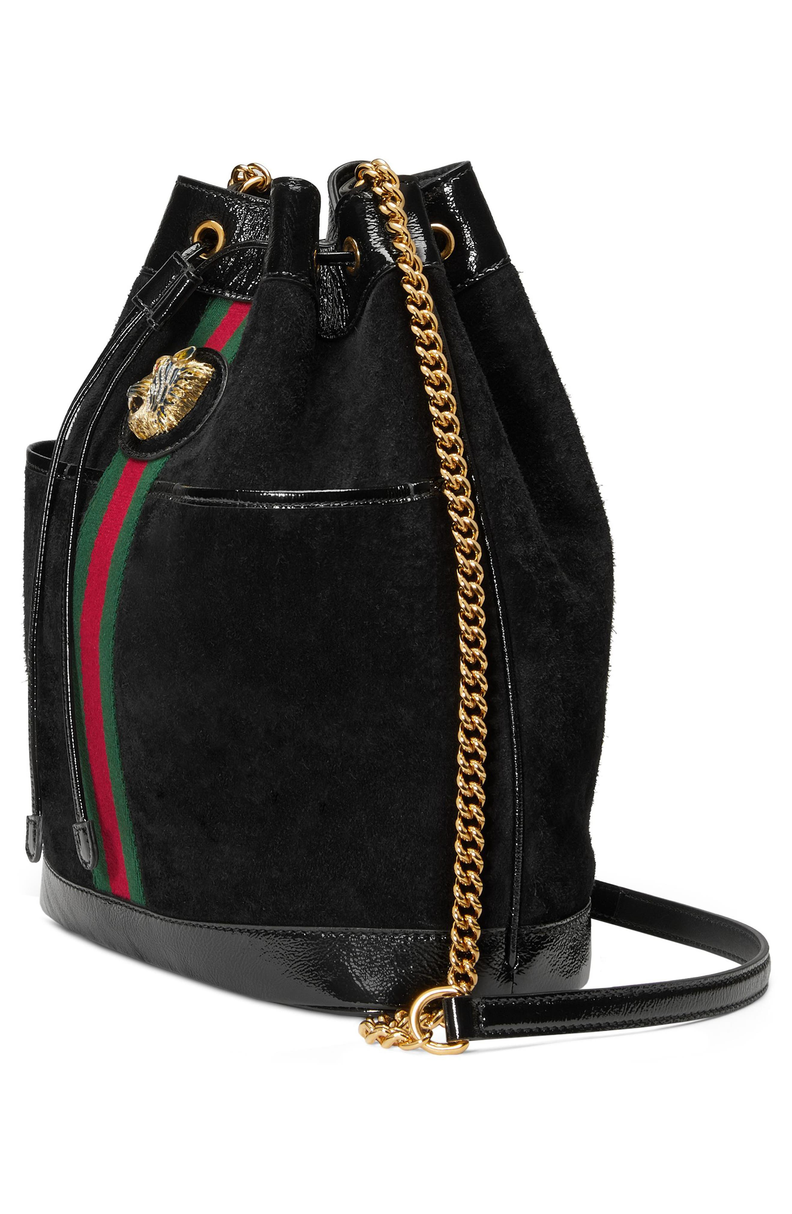 Linea Rajah Suede Bucket Bag,                             Alternate thumbnail 4, color,                             NERO/ VERT/ RED MULTI