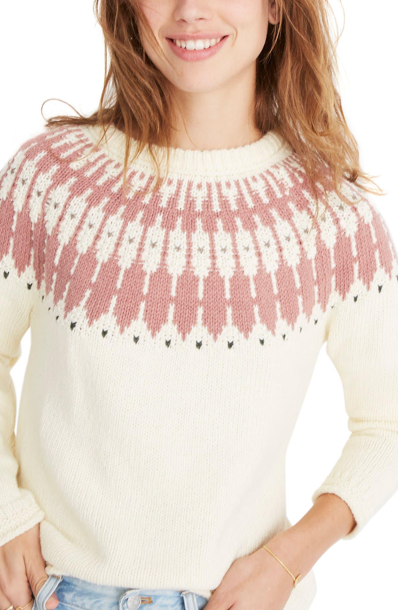 Keaton Fair Isle Sweater, Main, color, ANTIQUE CREAM