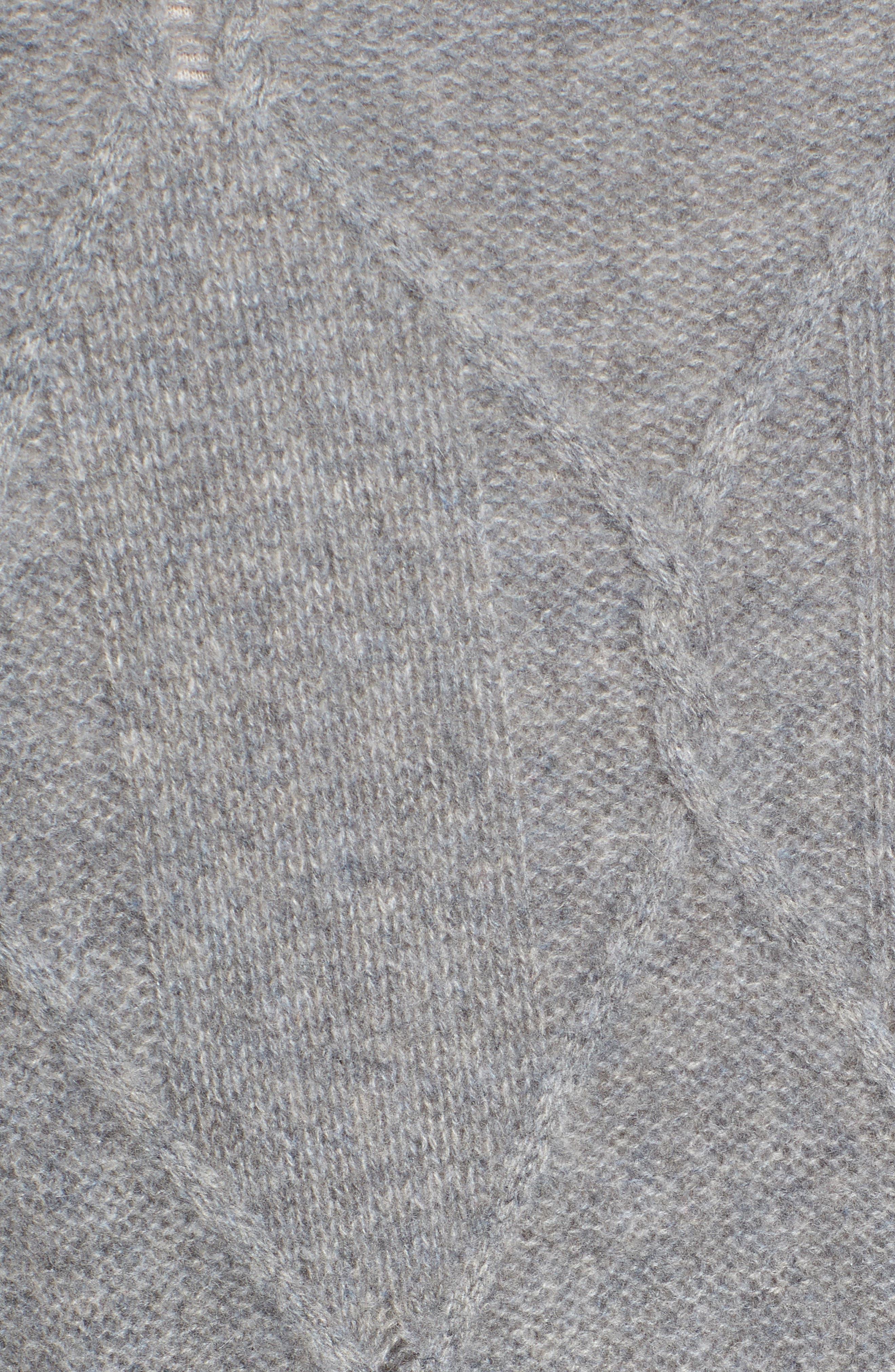 Cable Knit Long Cashmere Cardigan,                             Alternate thumbnail 5, color,                             GREY MEDIUM HEATHER