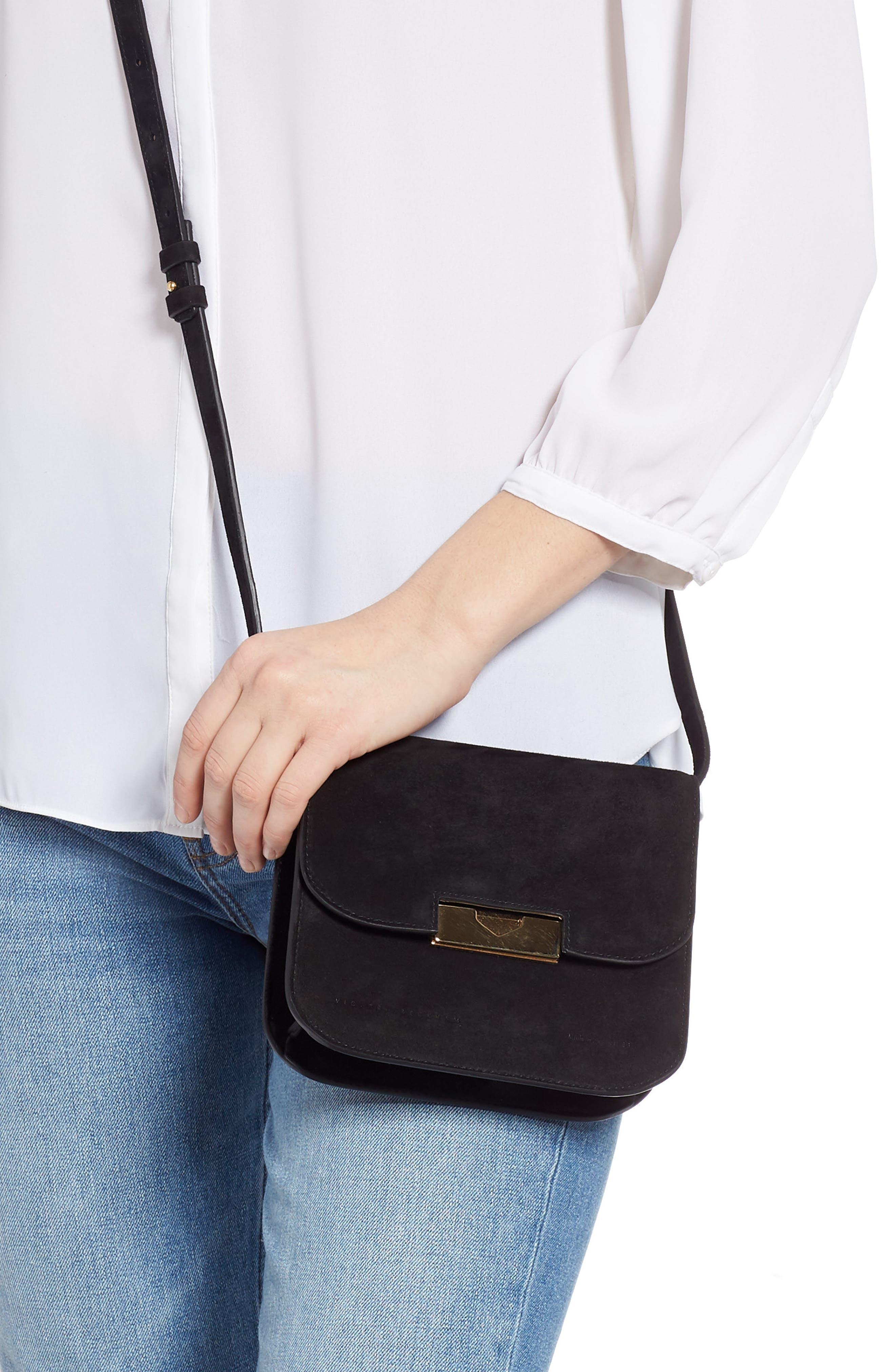 VICTORIA BECKHAM,                             Eva Calfskin Suede Shoulder Bag,                             Alternate thumbnail 2, color,                             BLACK