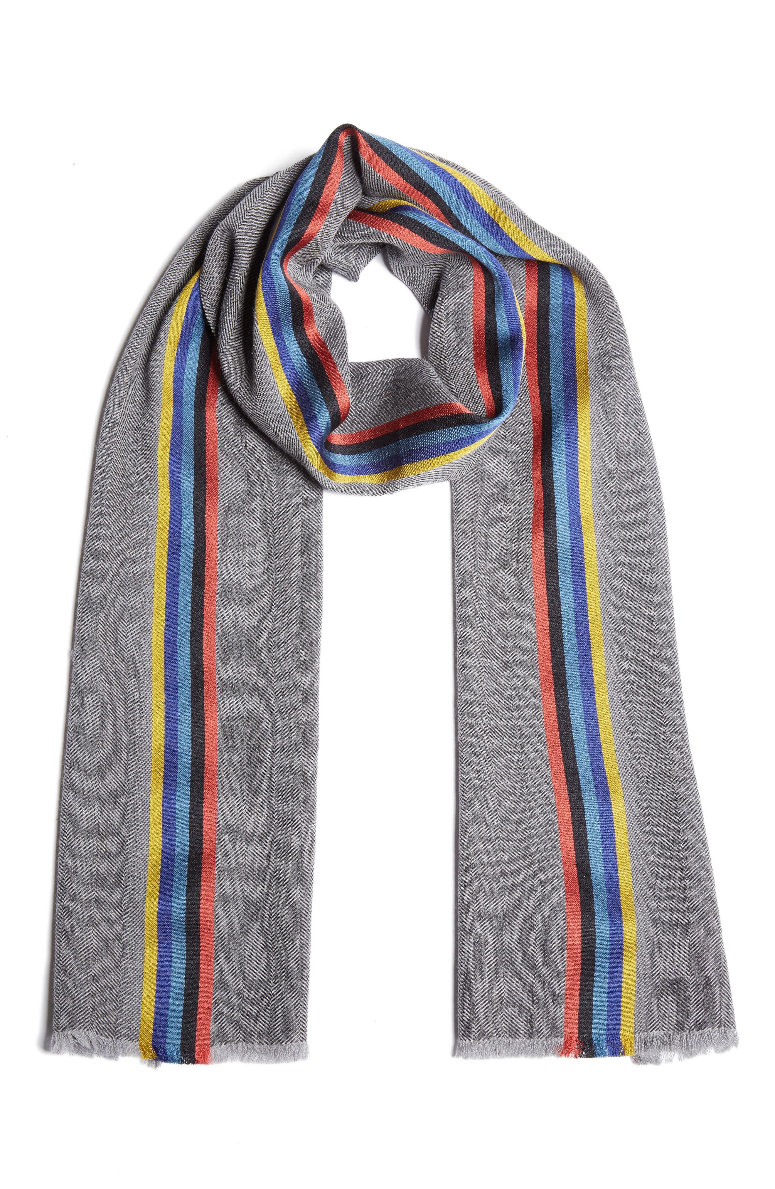 Central Stripe Wool & Silk Scarf,                             Main thumbnail 2, color,