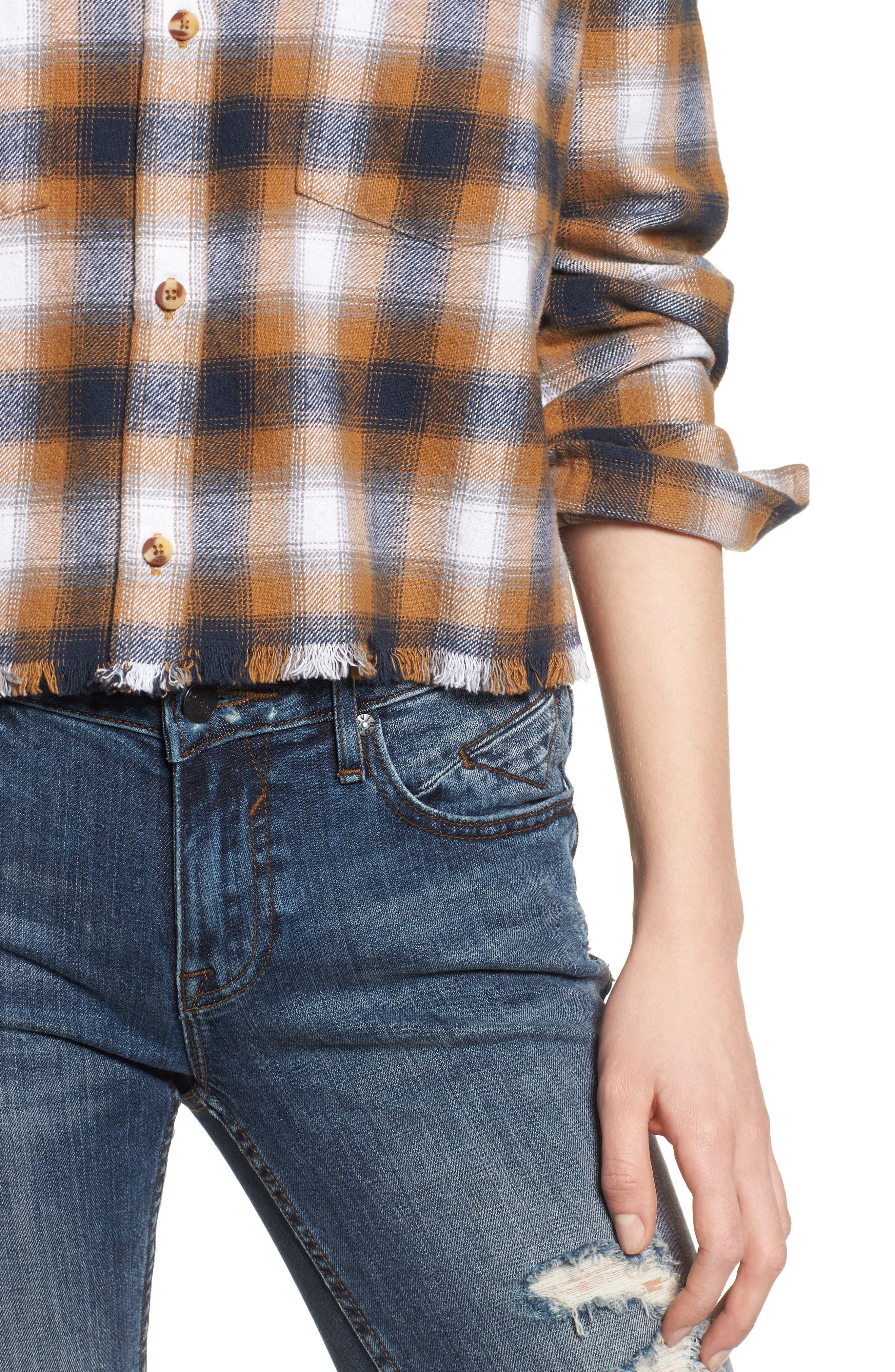 Cassius Crop Flannel Shirt,                             Alternate thumbnail 4, color,