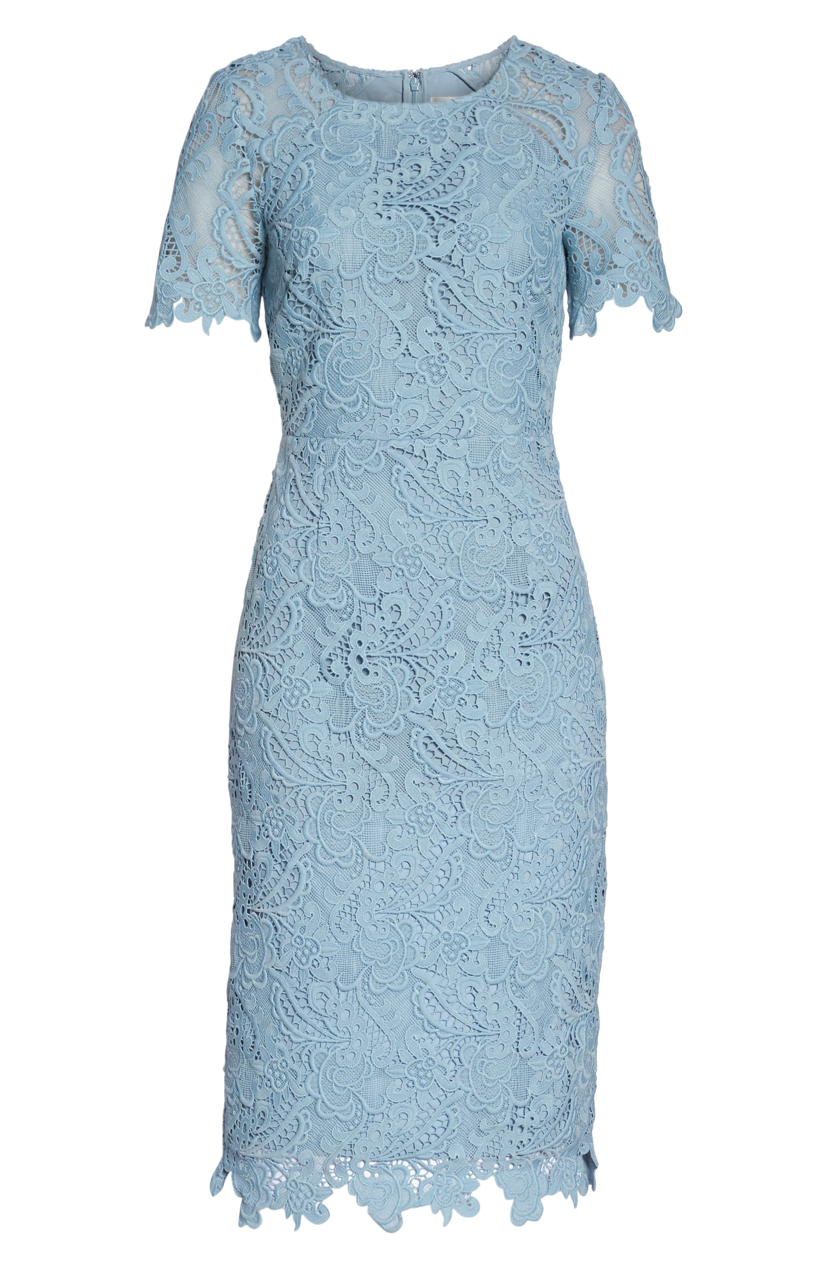 Lace Sheath Dress,                             Alternate thumbnail 7, color,                             BLUE