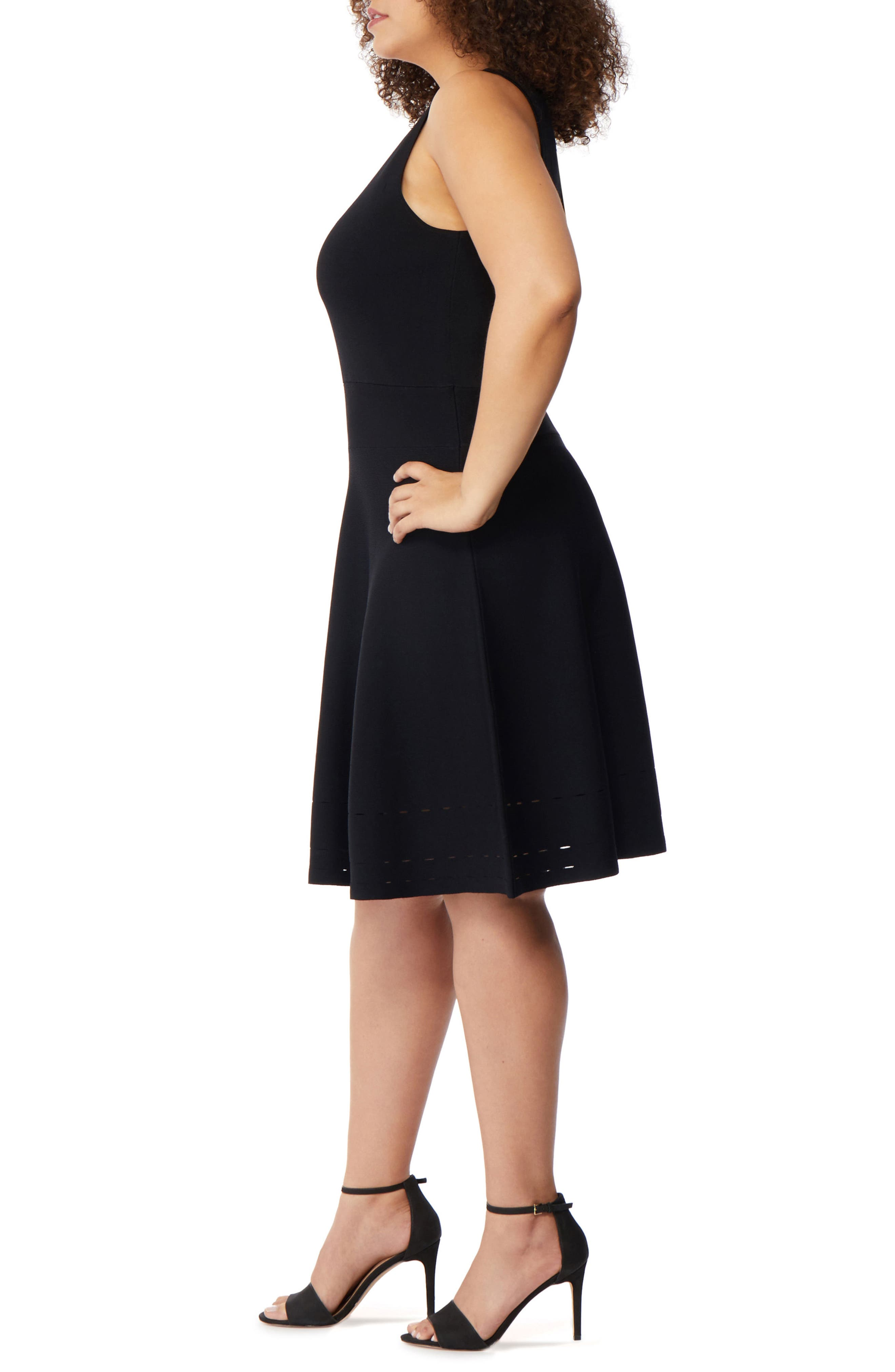 Pointelle Detail Fit & Flare Dress,                             Alternate thumbnail 3, color,                             001
