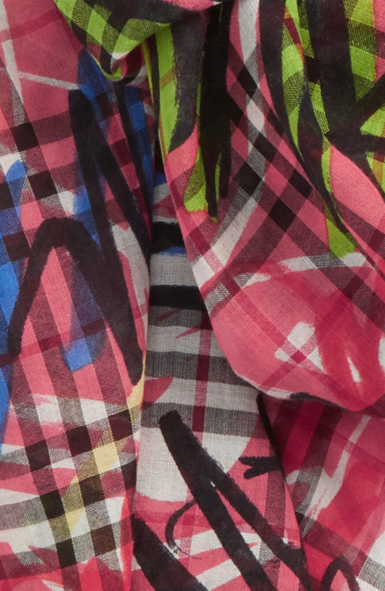 Vintage Check Wool & Silk Scarf,                             Alternate thumbnail 3, color,                             665