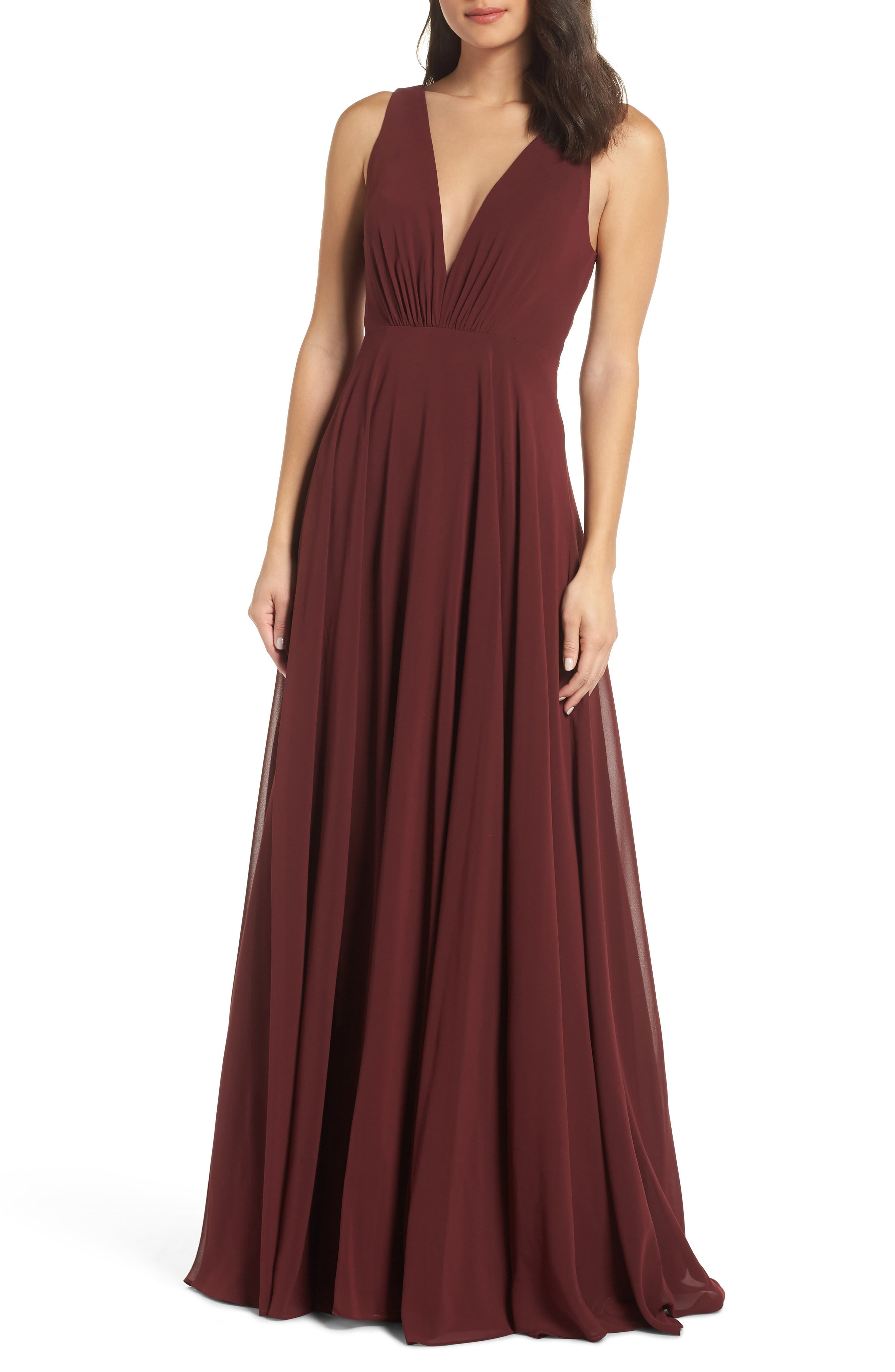 Jenny Yoo Ryan Illusion Neck Chiffon Gown, Red