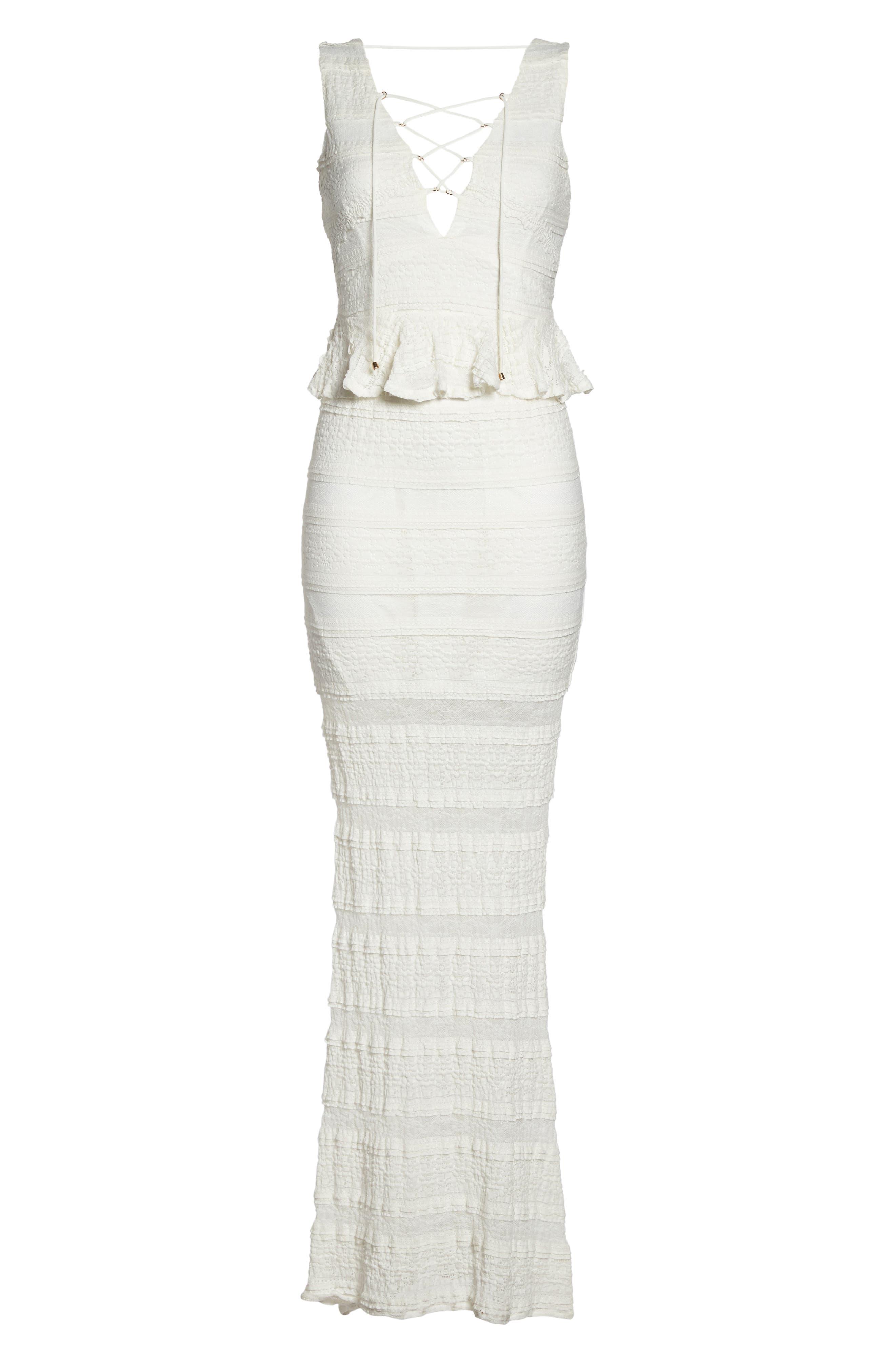 Makayla Peplum Lace Maxi Dress,                             Alternate thumbnail 6, color,                             901