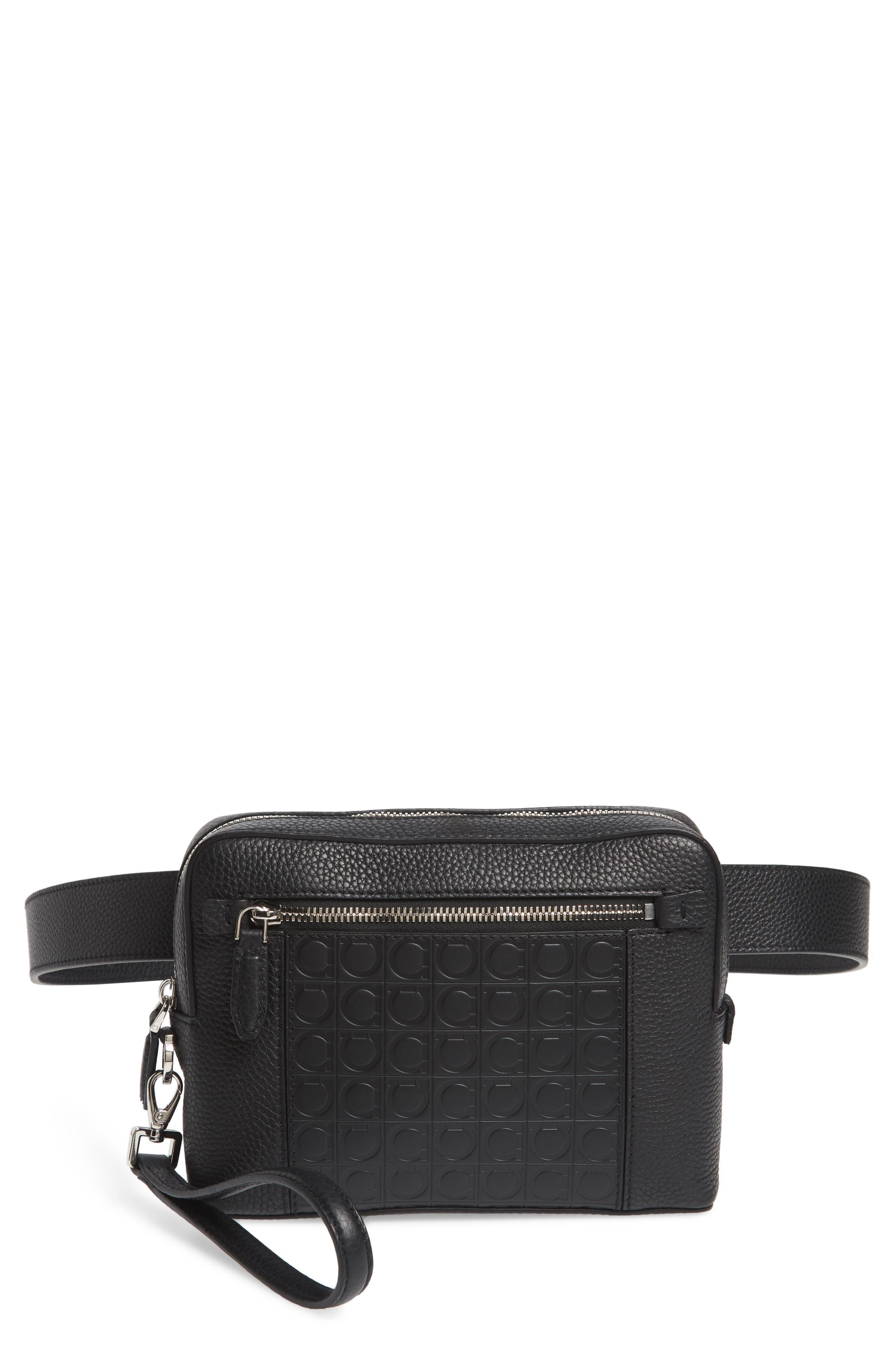 f594d82f8348 Salvatore Ferragamo Textured Leather Belt Bag - Black In Nero  Nero ...