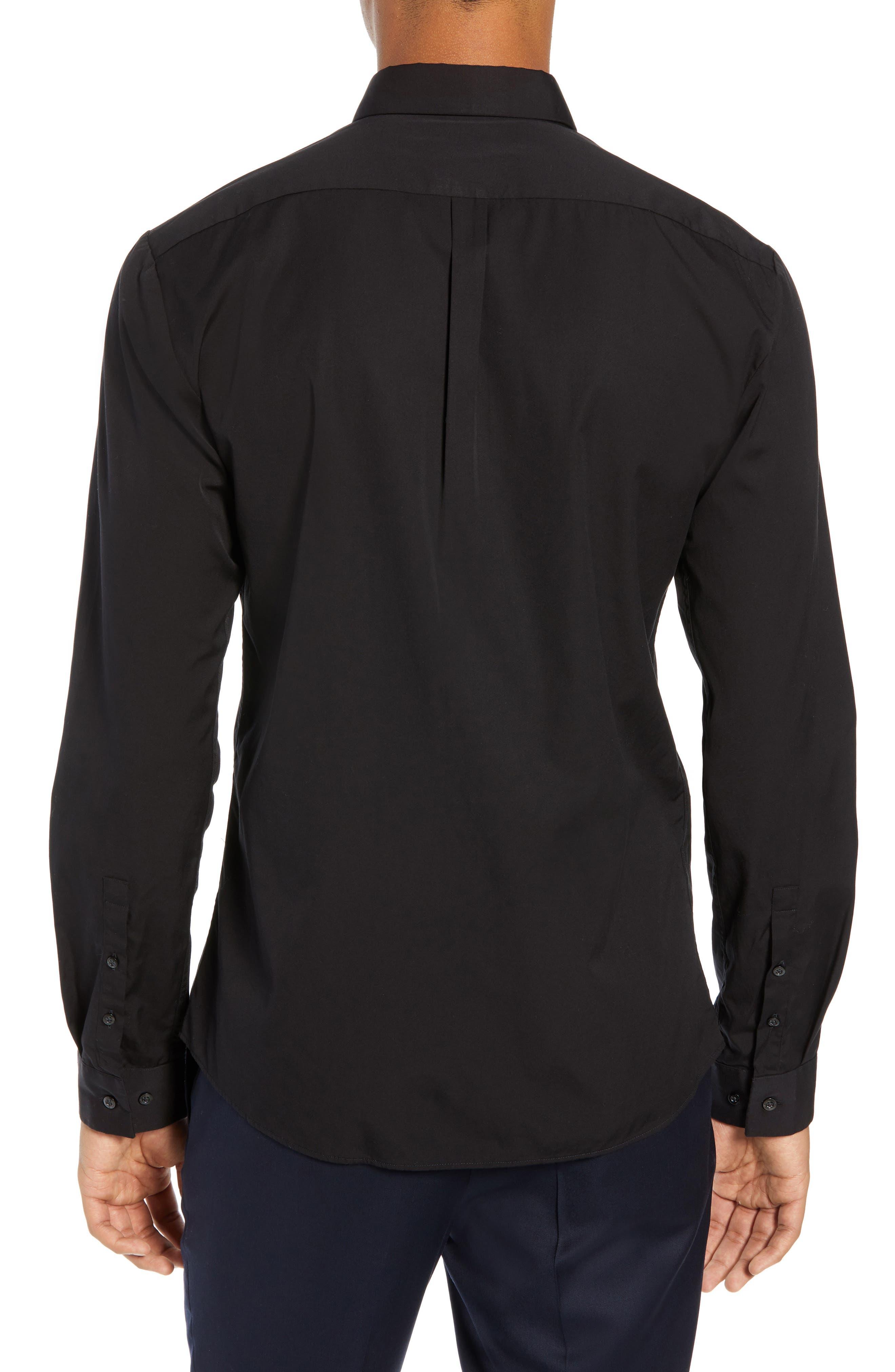 Ero Extra Slim Fit Zip Pocket Sport Shirt,                             Alternate thumbnail 3, color,                             BLACK