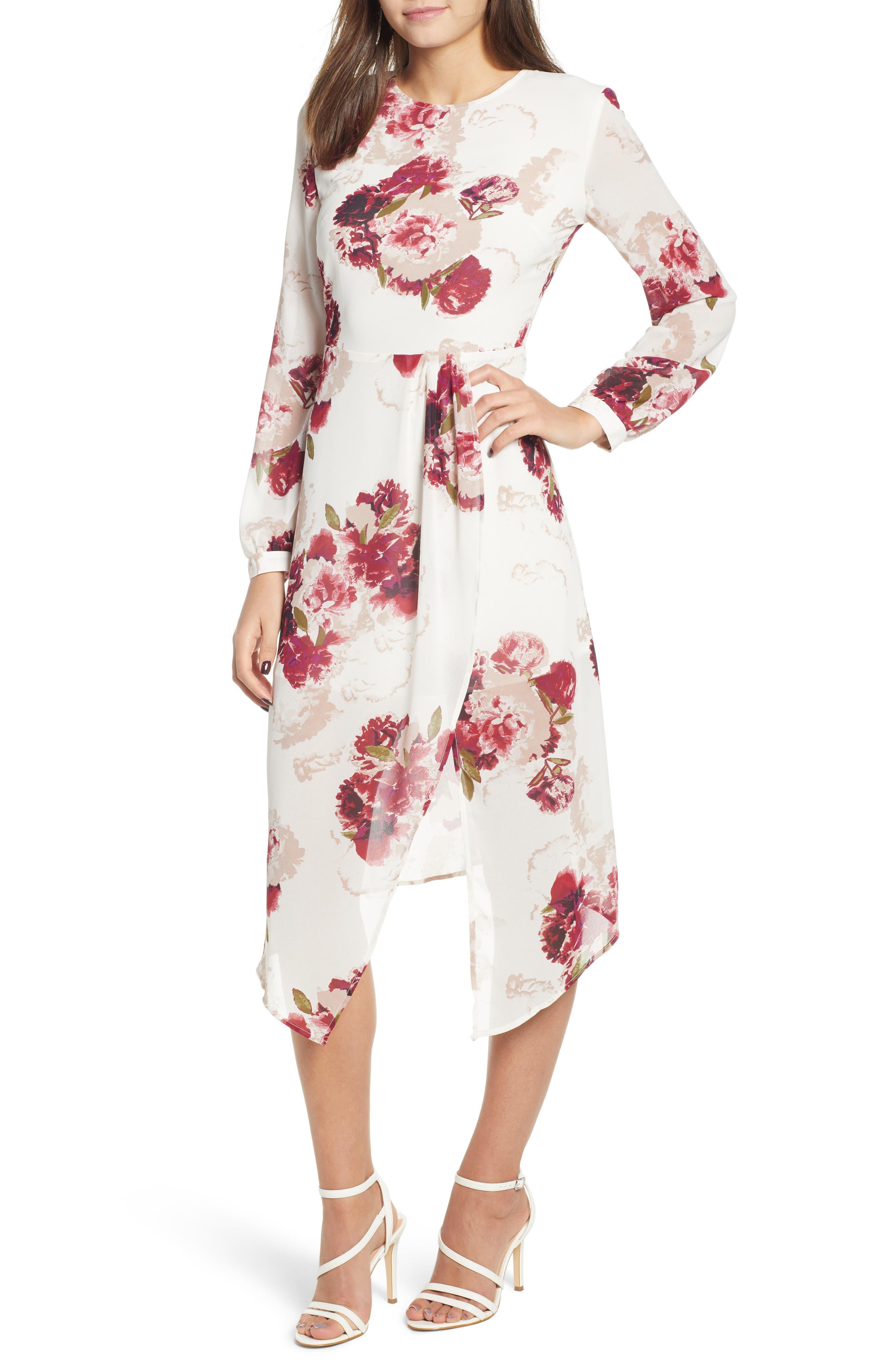 Leith Floral Drape Dress, Ivory