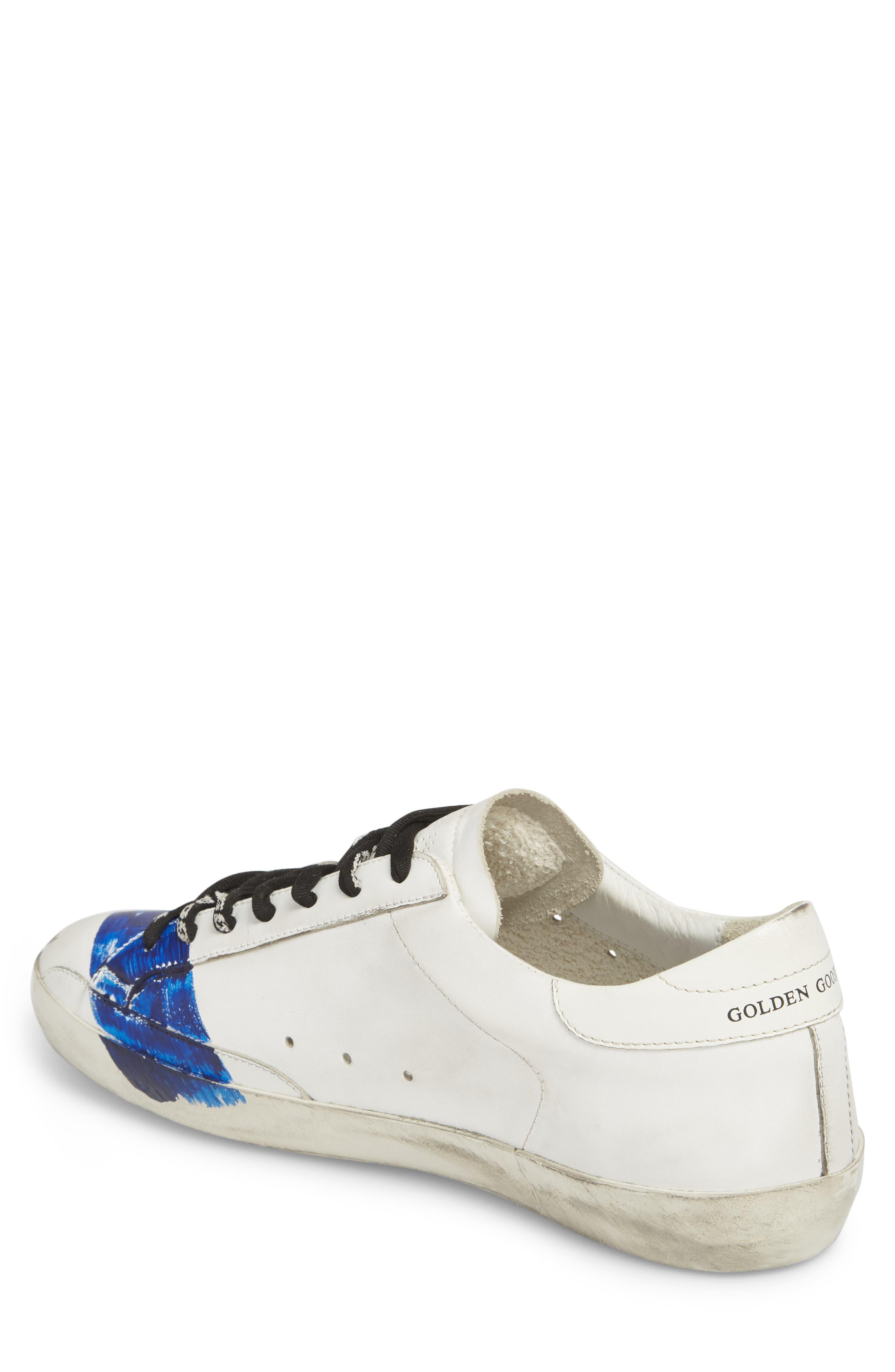 Superstar Distressed Sneaker,                             Alternate thumbnail 2, color,                             WHITE-BLUE STRIPE
