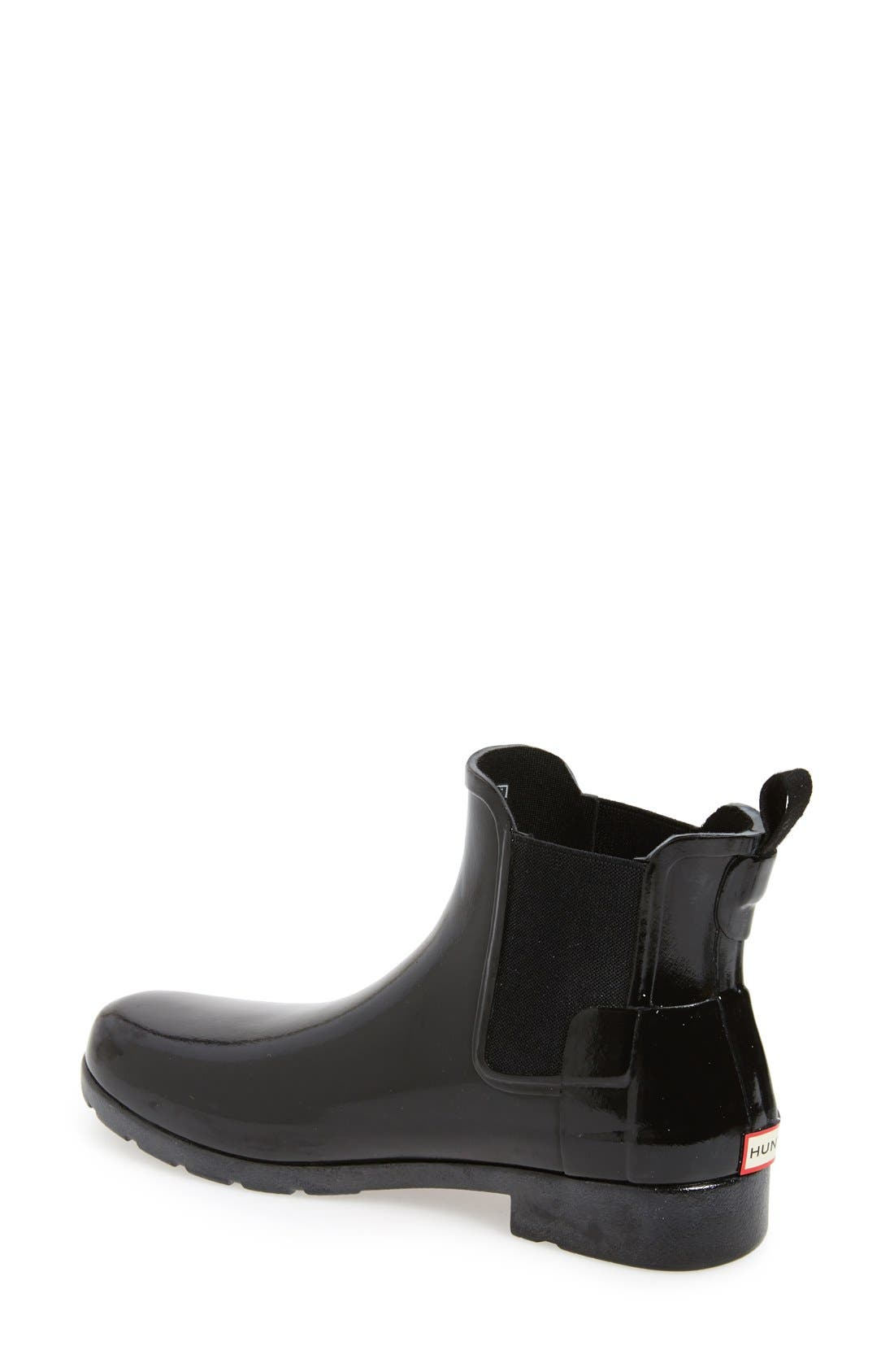 HUNTER,                             Original Refined Chelsea Waterproof Rain Boot,                             Alternate thumbnail 2, color,                             BLACK