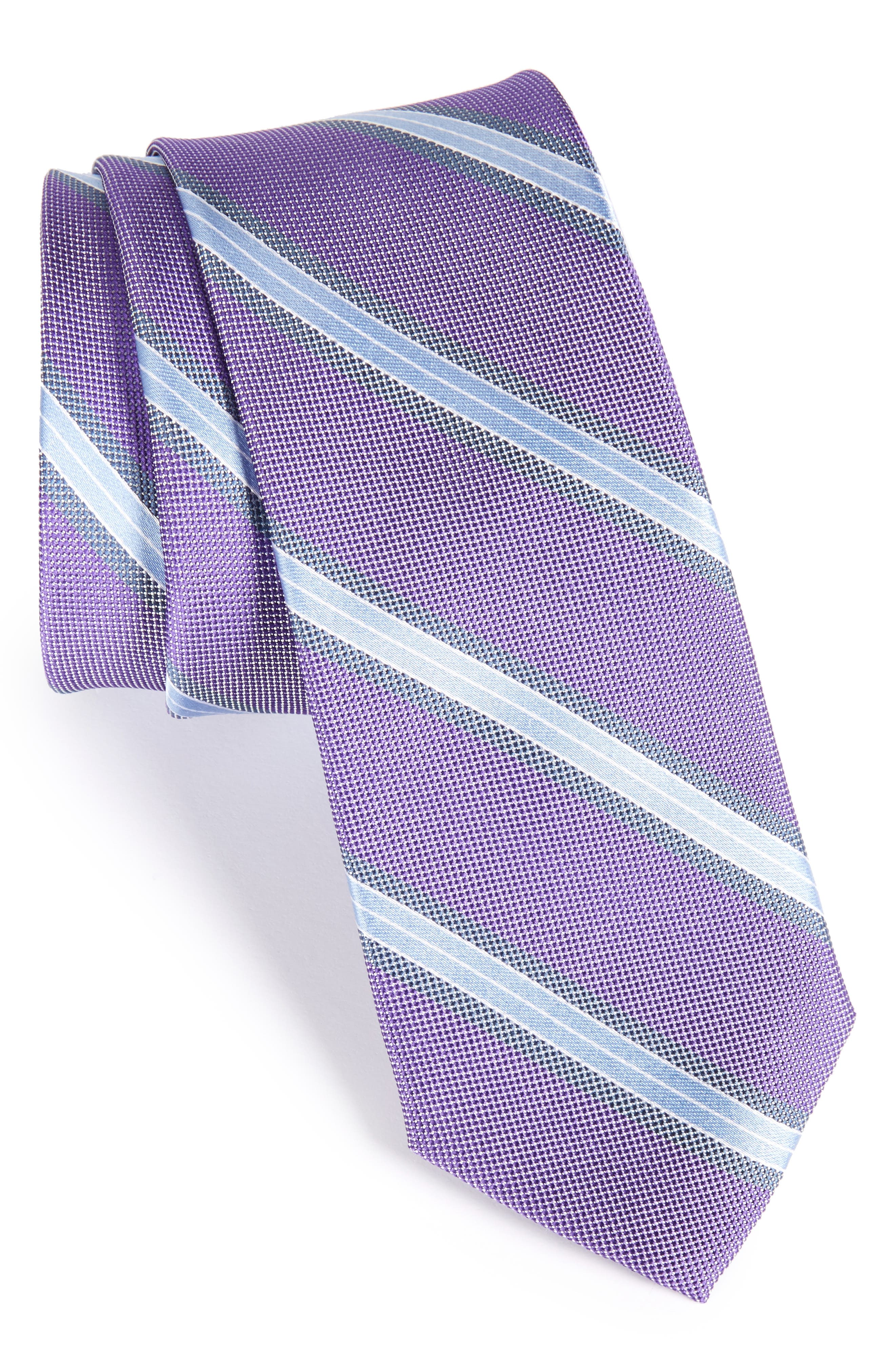Stripe Silk Skinny Tie,                             Main thumbnail 4, color,