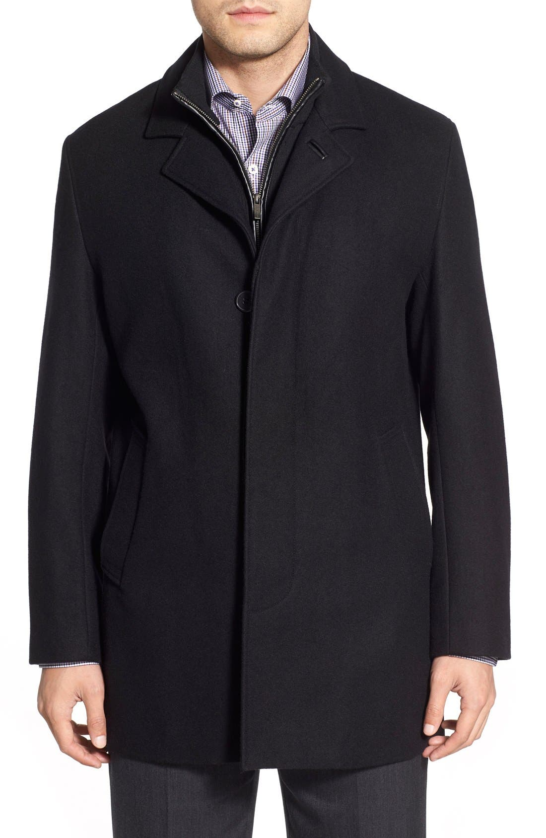 Wool Blend Topcoat with Inset Knit Bib,                         Main,                         color, BLACK