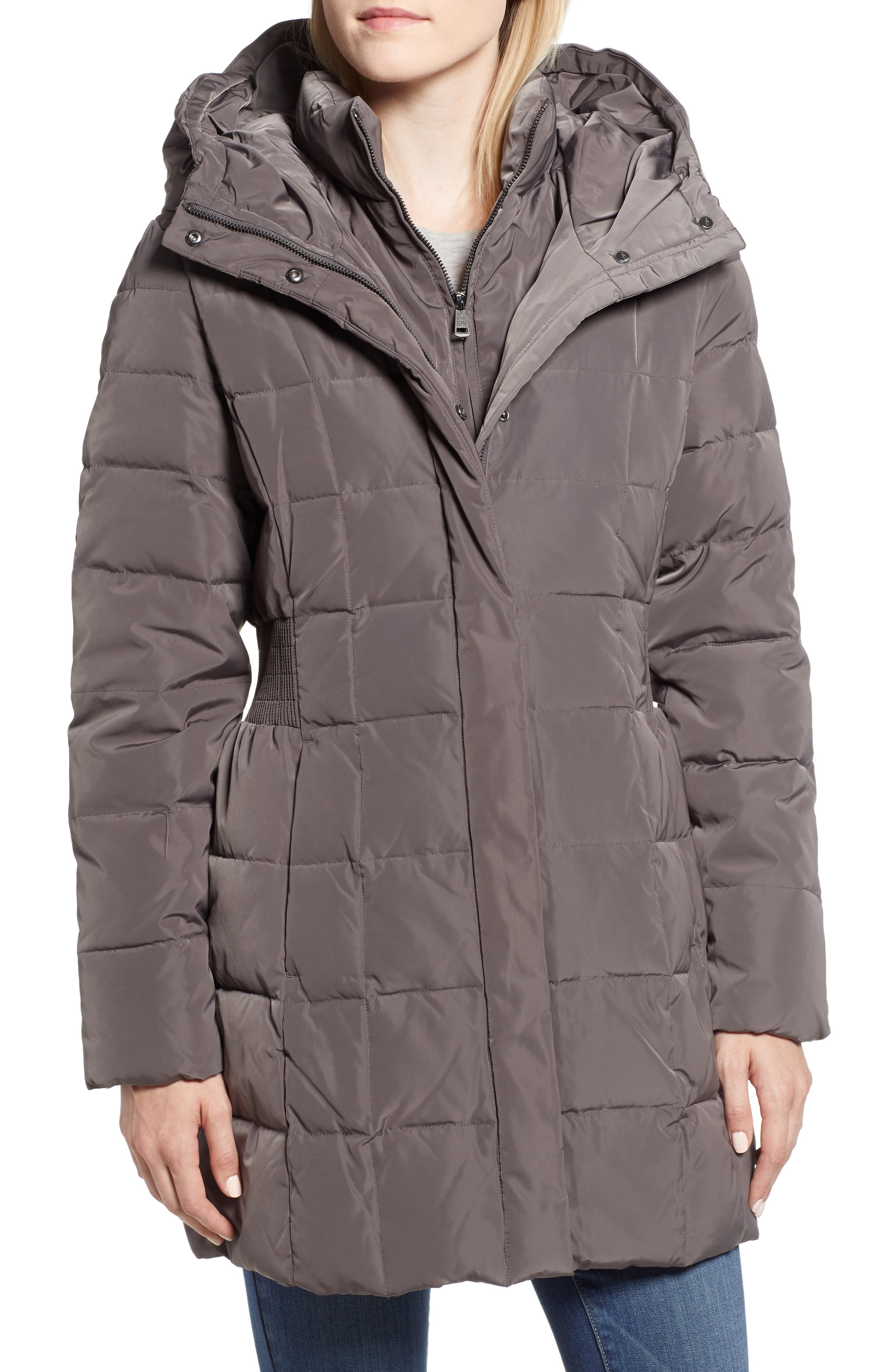 Cole Haan Hooded Down & Feather Jacket,                             Alternate thumbnail 4, color,                             CARBON