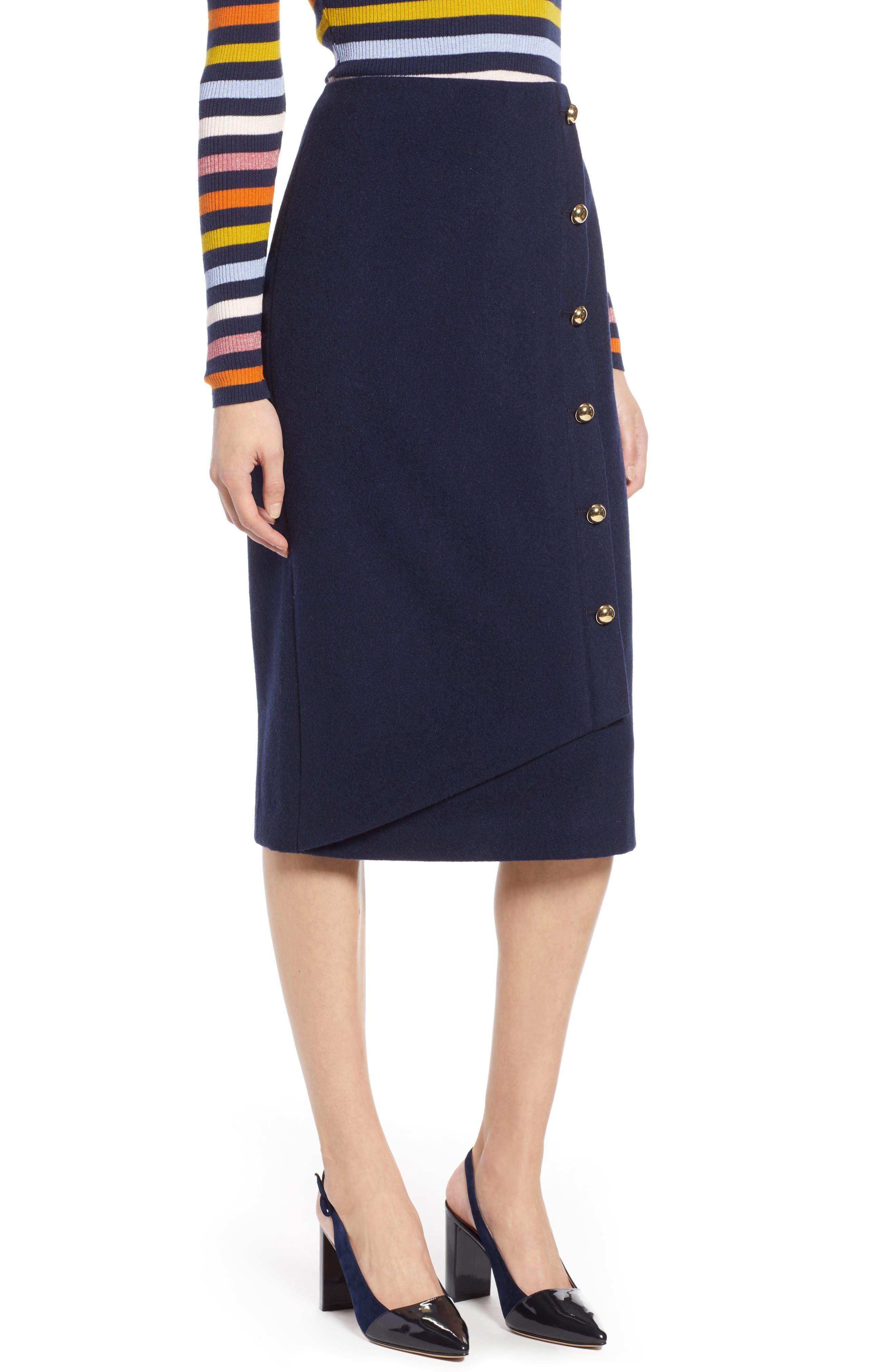 x Atlantic-Pacific Wrap Pencil Skirt,                         Main,                         color, NAVY BLAZER