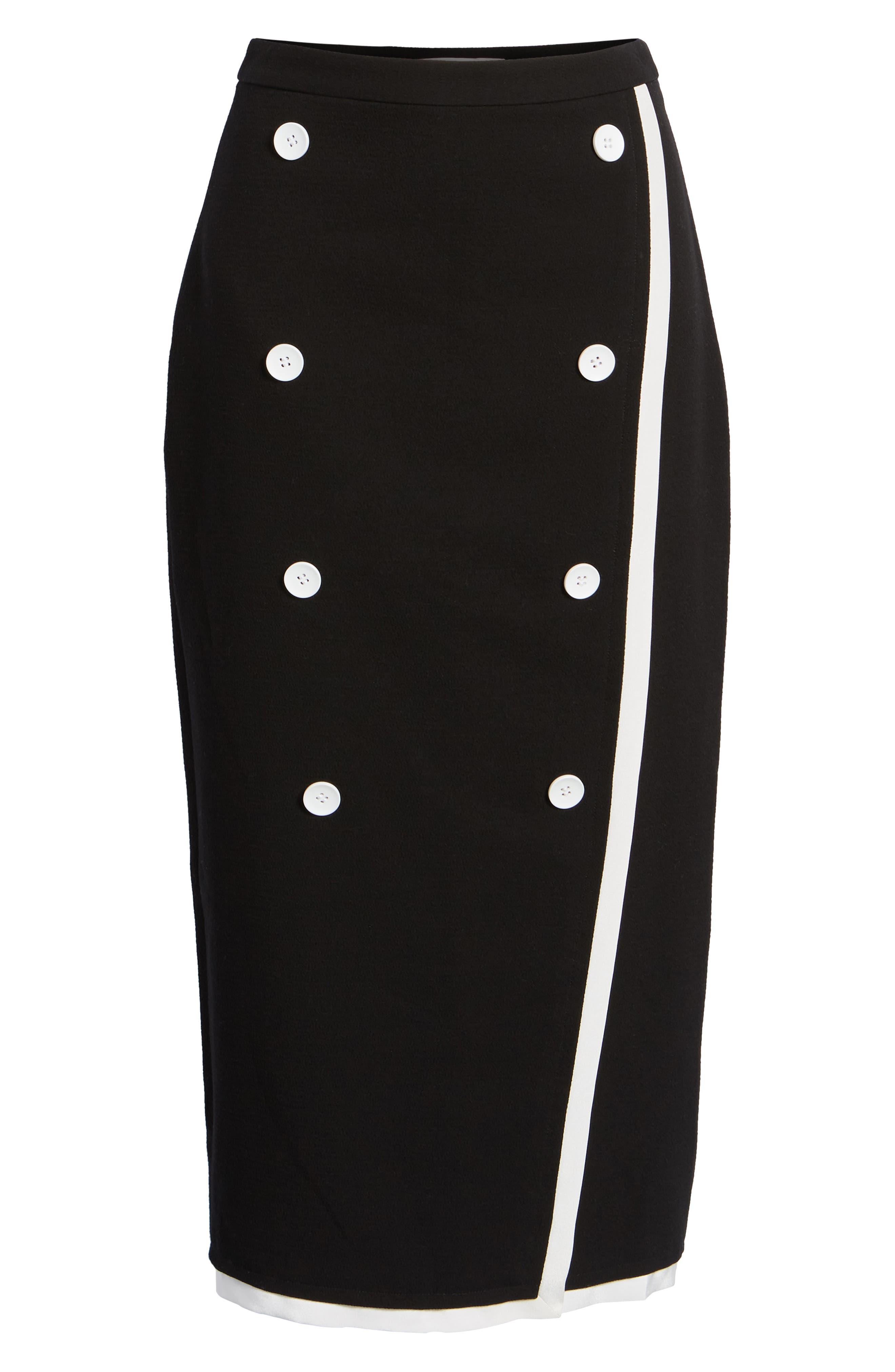 Button Detail Pencil Skirt,                             Alternate thumbnail 6, color,                             001