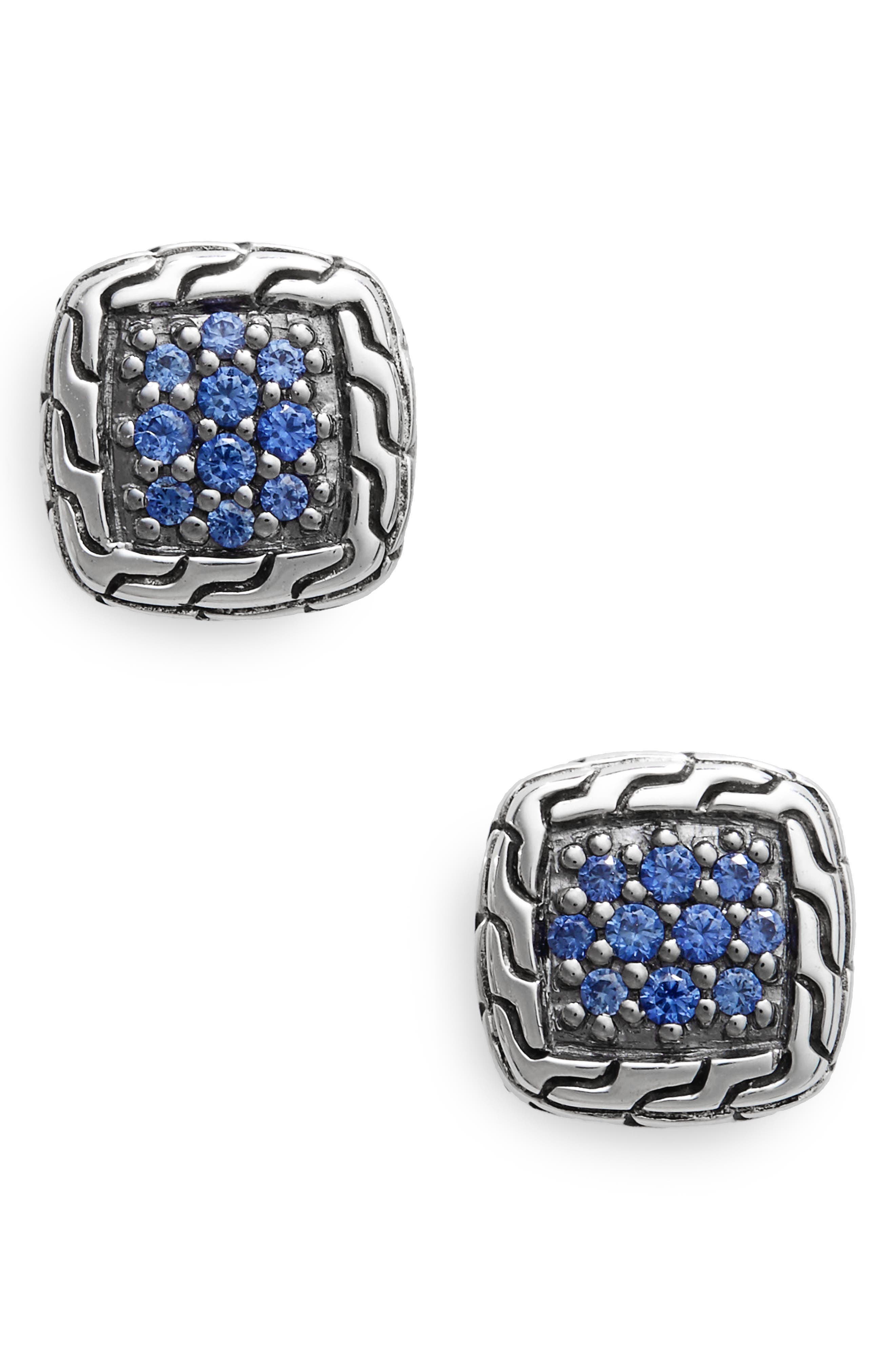 Classic Chain Sapphire & Silver Stud Earrings,                             Main thumbnail 1, color,                             040