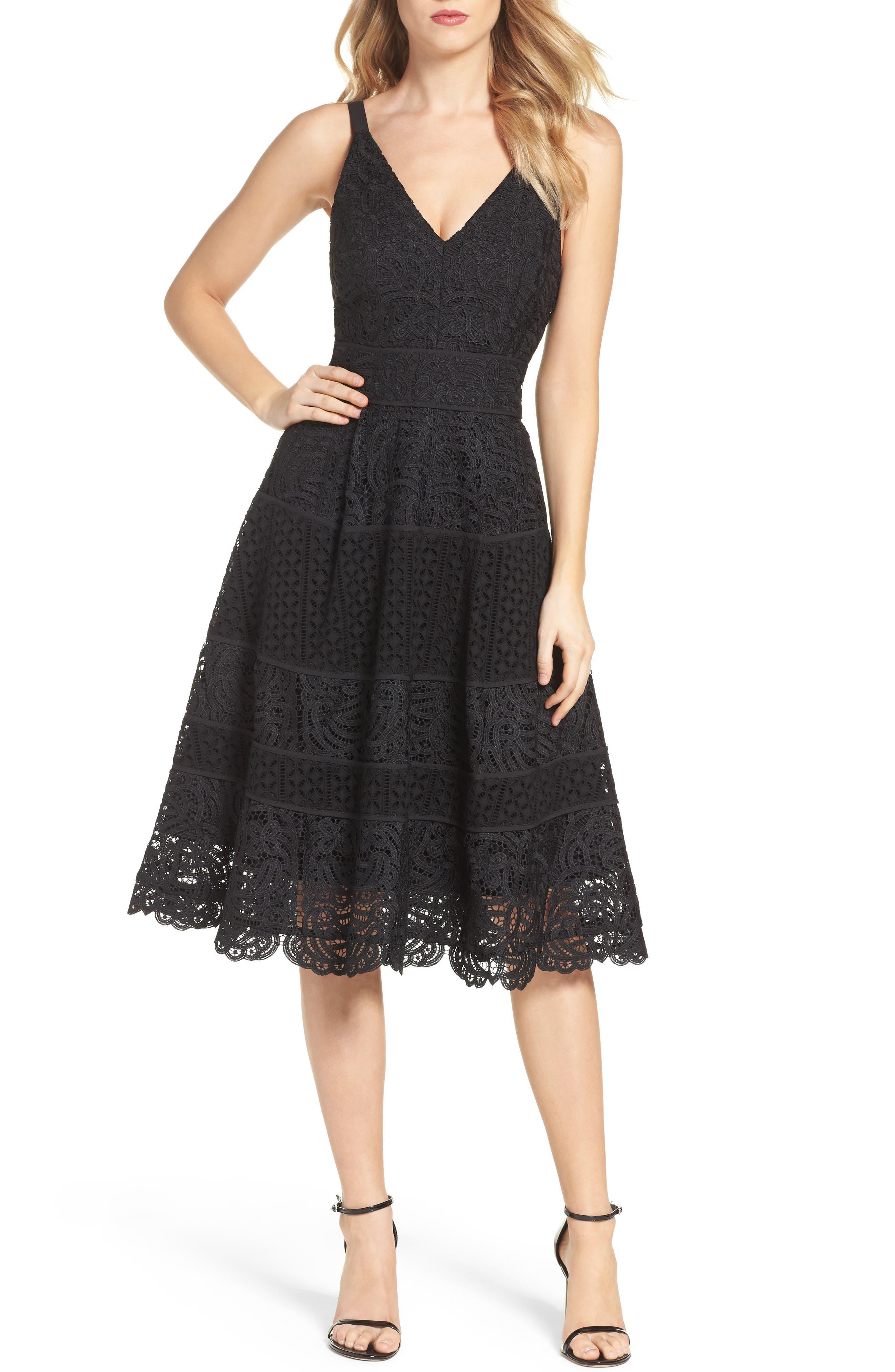 Fit & Flare Midi Dress,                             Main thumbnail 2, color,