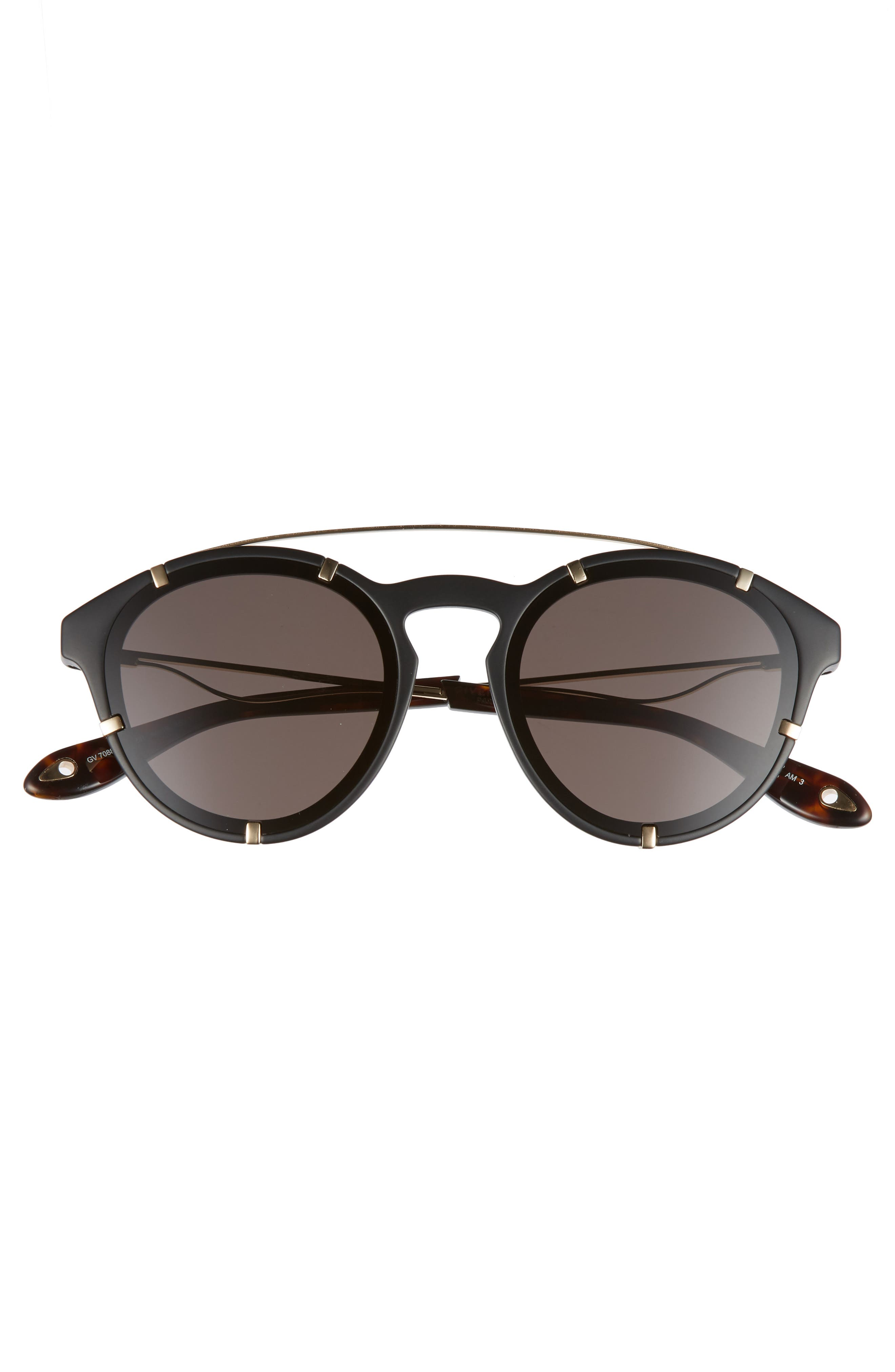 GIVENCHY,                             54mm Round Polarized Sunglasses,                             Alternate thumbnail 3, color,                             001