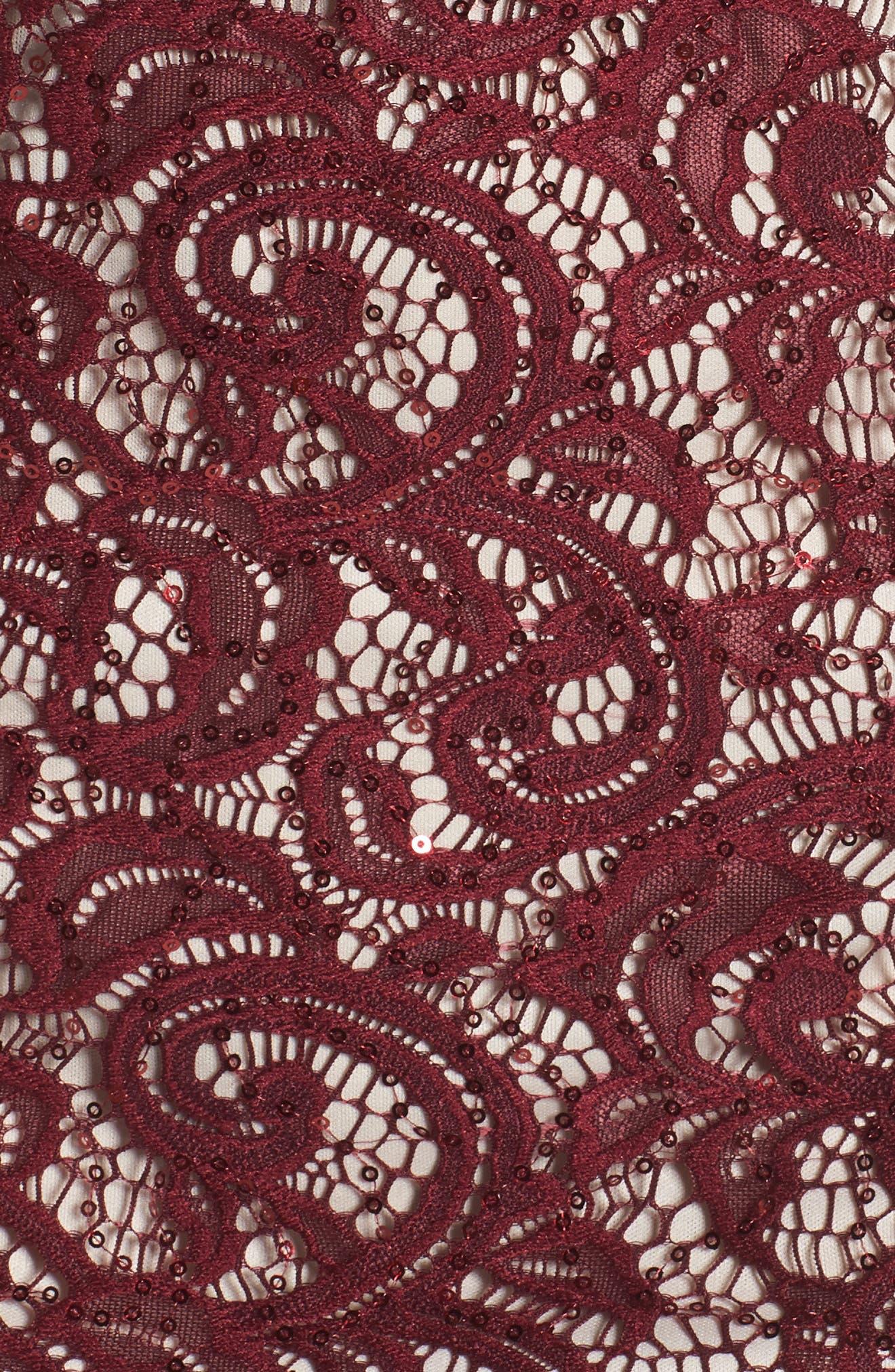 Sequin Lace Body-Con Dress,                             Alternate thumbnail 5, color,                             502