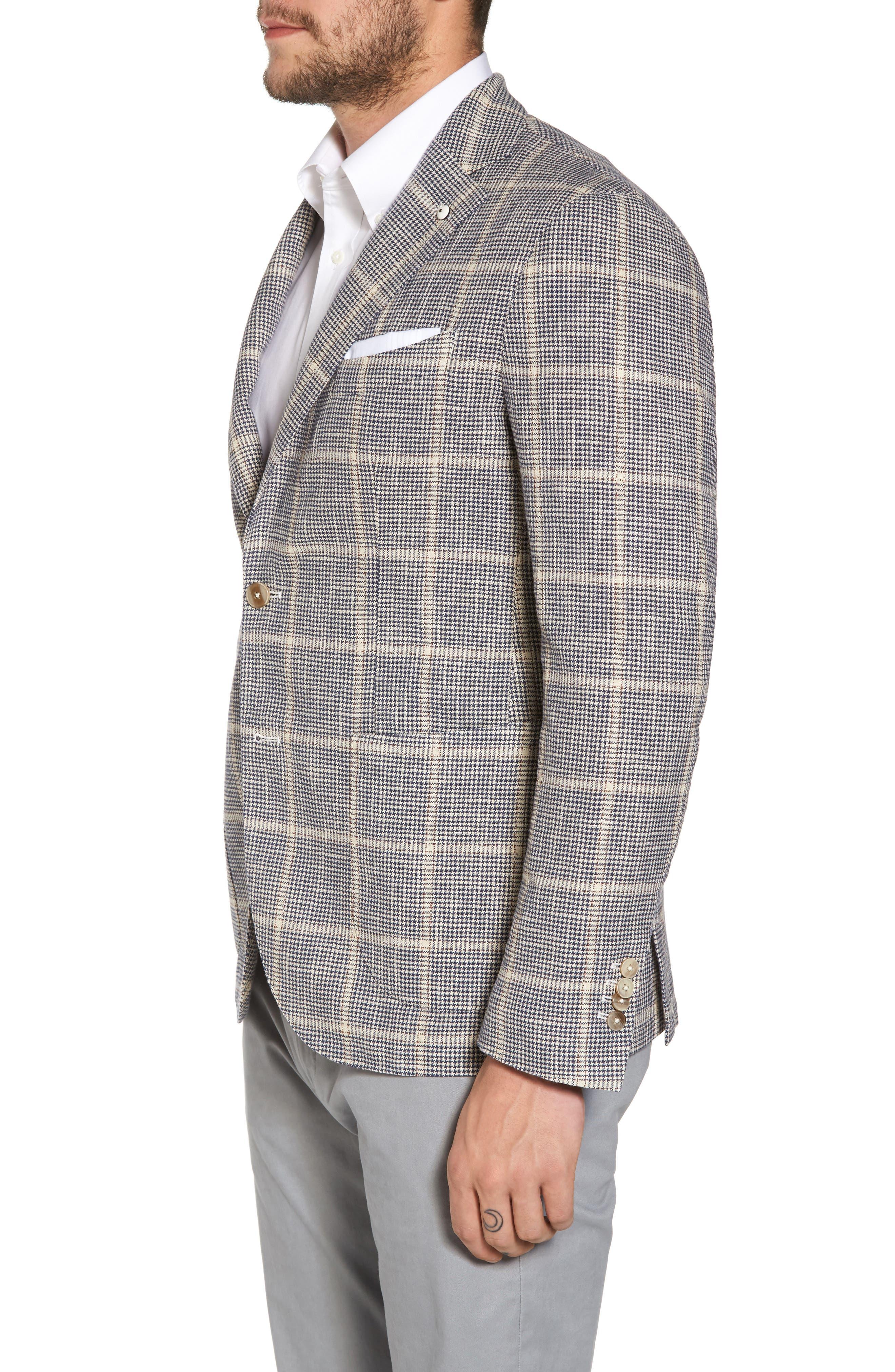 Classic Fit Windowpane Cotton & Silk Sport Coat,                             Alternate thumbnail 3, color,                             430