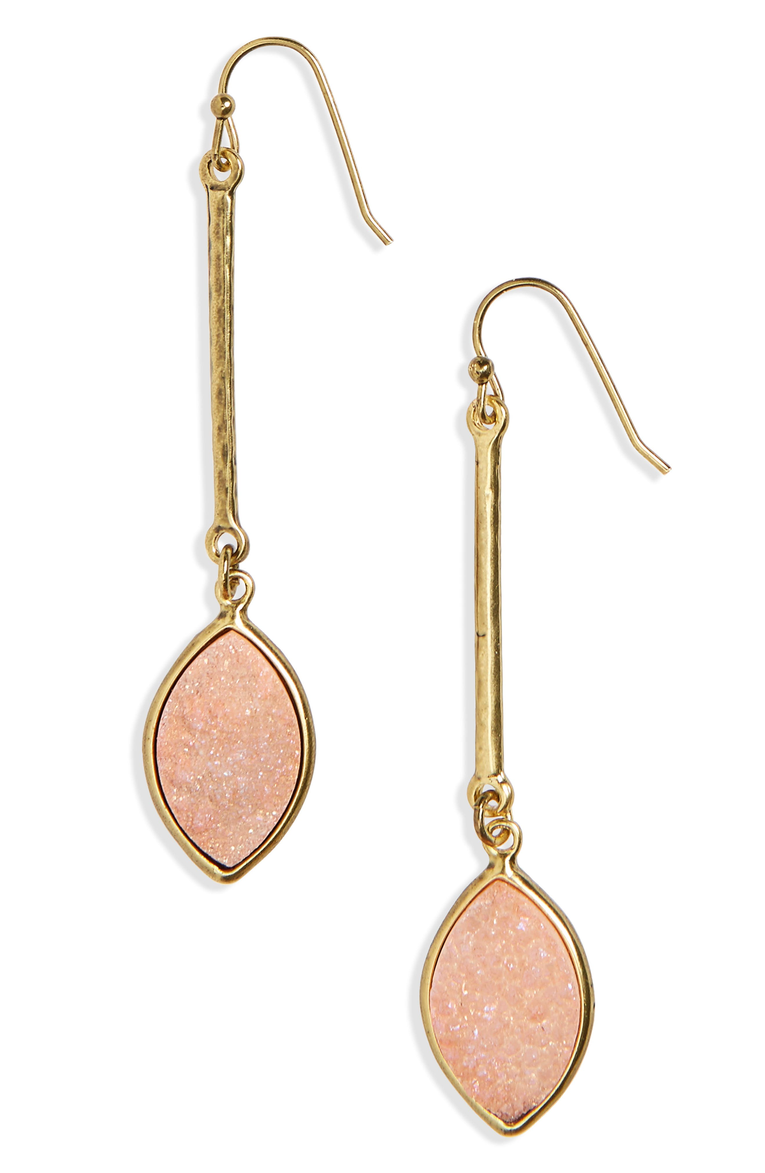 Drusy Linear Drop Earrings,                             Main thumbnail 3, color,