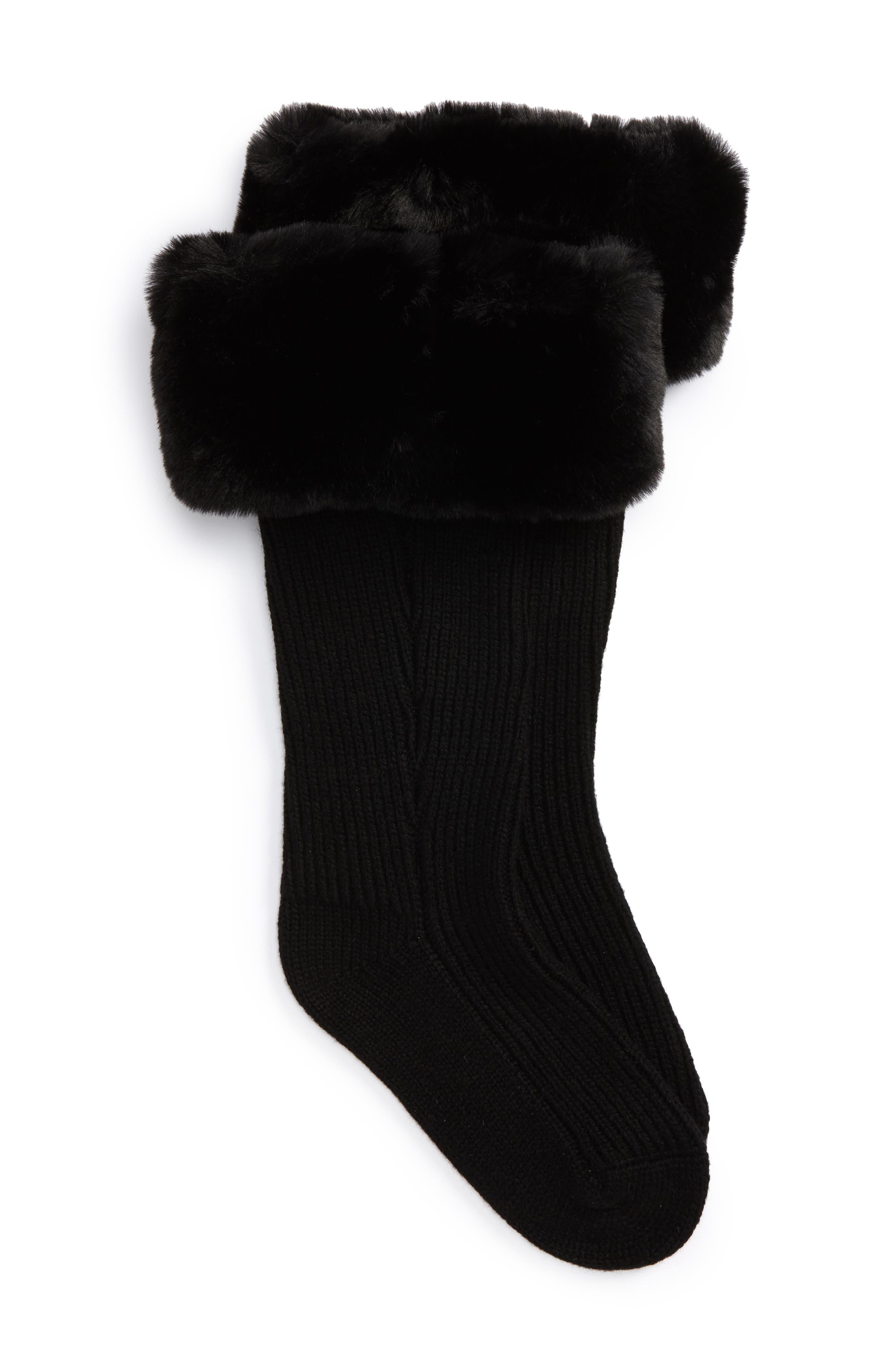 UGGpure<sup>™</sup> Tall Rain Boot Sock,                             Main thumbnail 1, color,                             BLACK WOOL