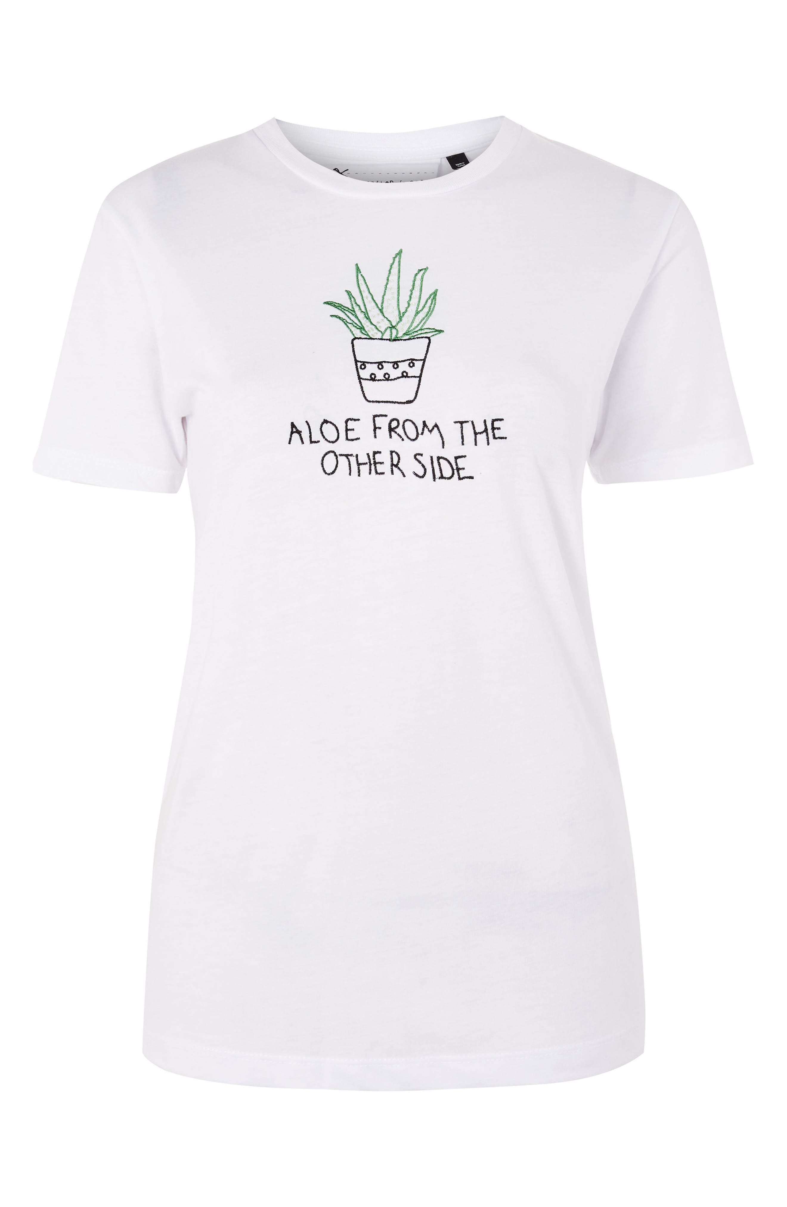 Aloe Embroidered Tee,                             Alternate thumbnail 4, color,                             100