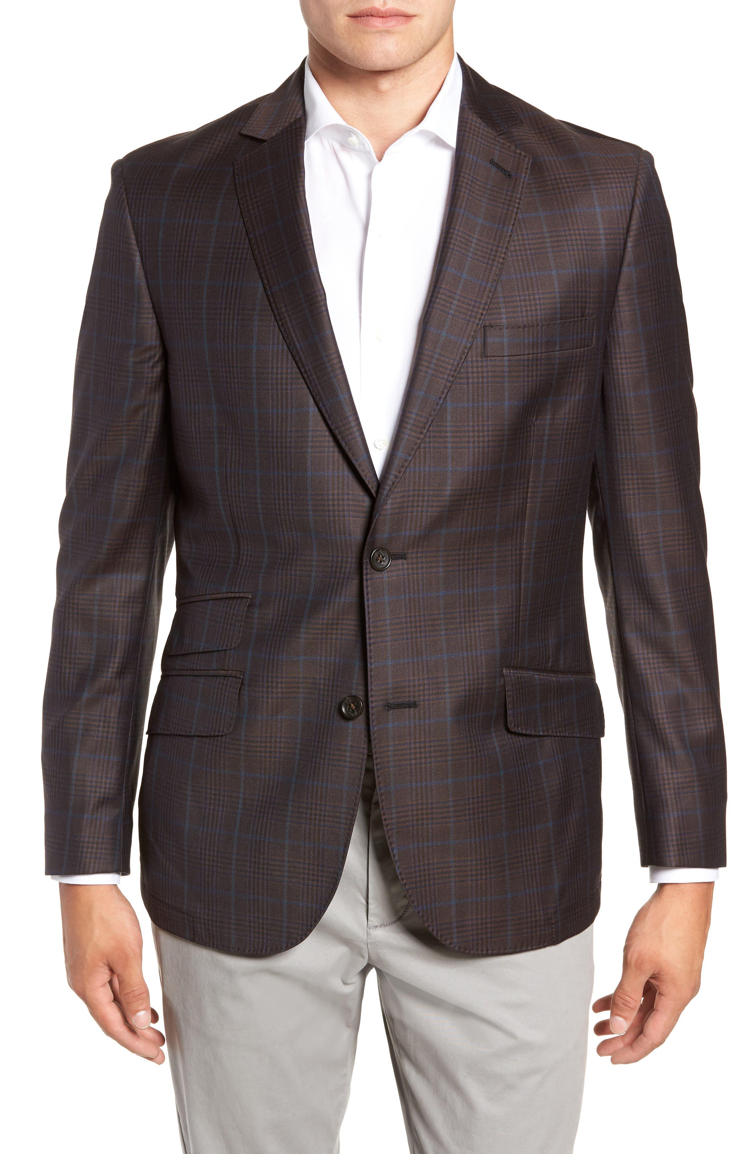 Regular Fit Super 130's Wool Blazer,                             Main thumbnail 1, color,                             BROWN