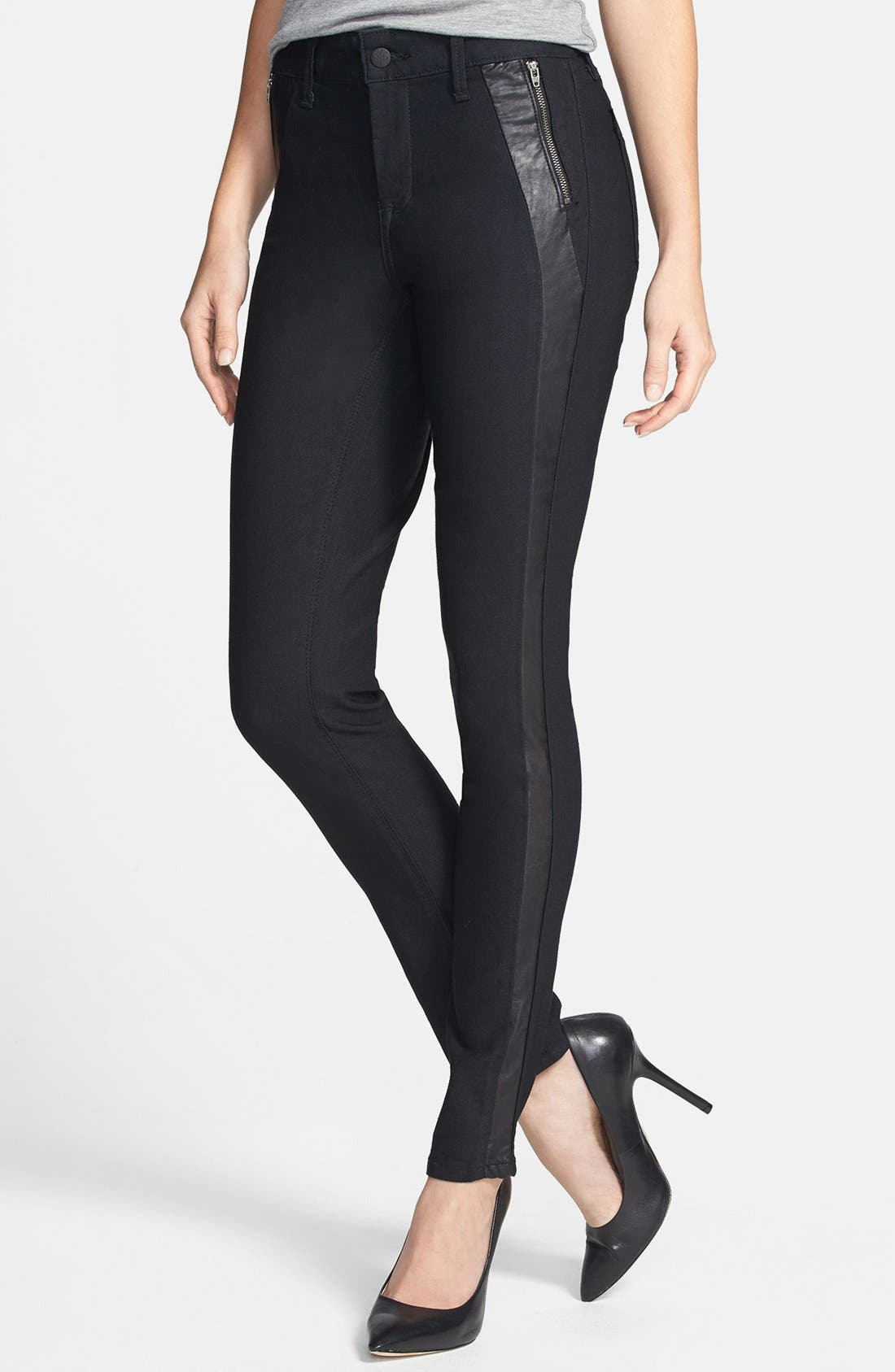 'Megan' Faux Leather Trim Stretch Skinny Jeans,                             Alternate thumbnail 4, color,                             460