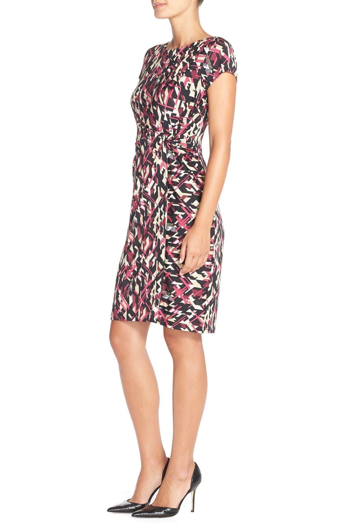 Print Jersey Faux Wrap Sheath Dress,                             Alternate thumbnail 2, color,                             007