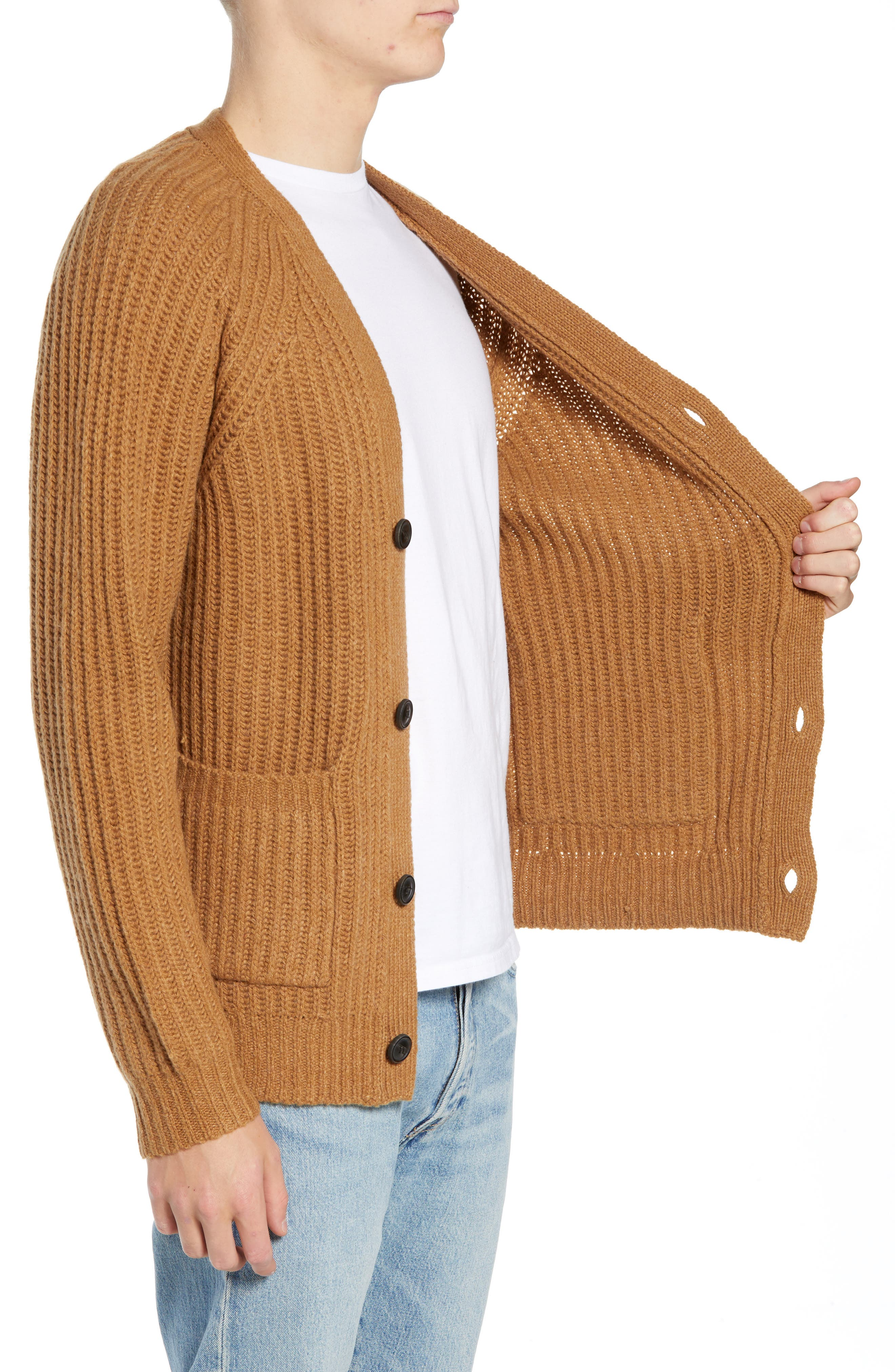 Supersoft Wool Blend Cardigan,                             Alternate thumbnail 3, color,                             RICH CAMEL