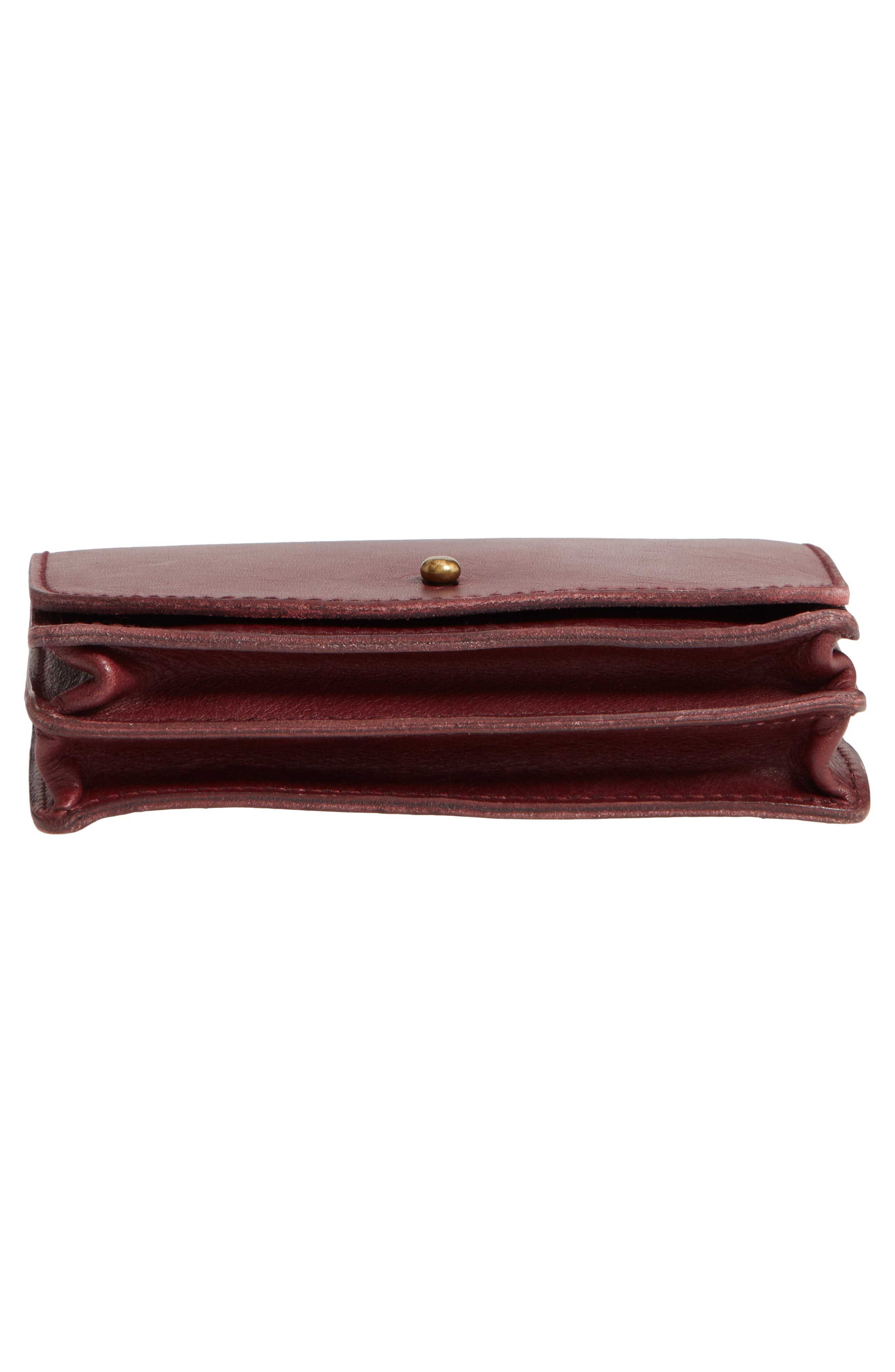 MADEWELL,                             Leather Crossbody Wallet,                             Alternate thumbnail 6, color,                             DARK CABERNET