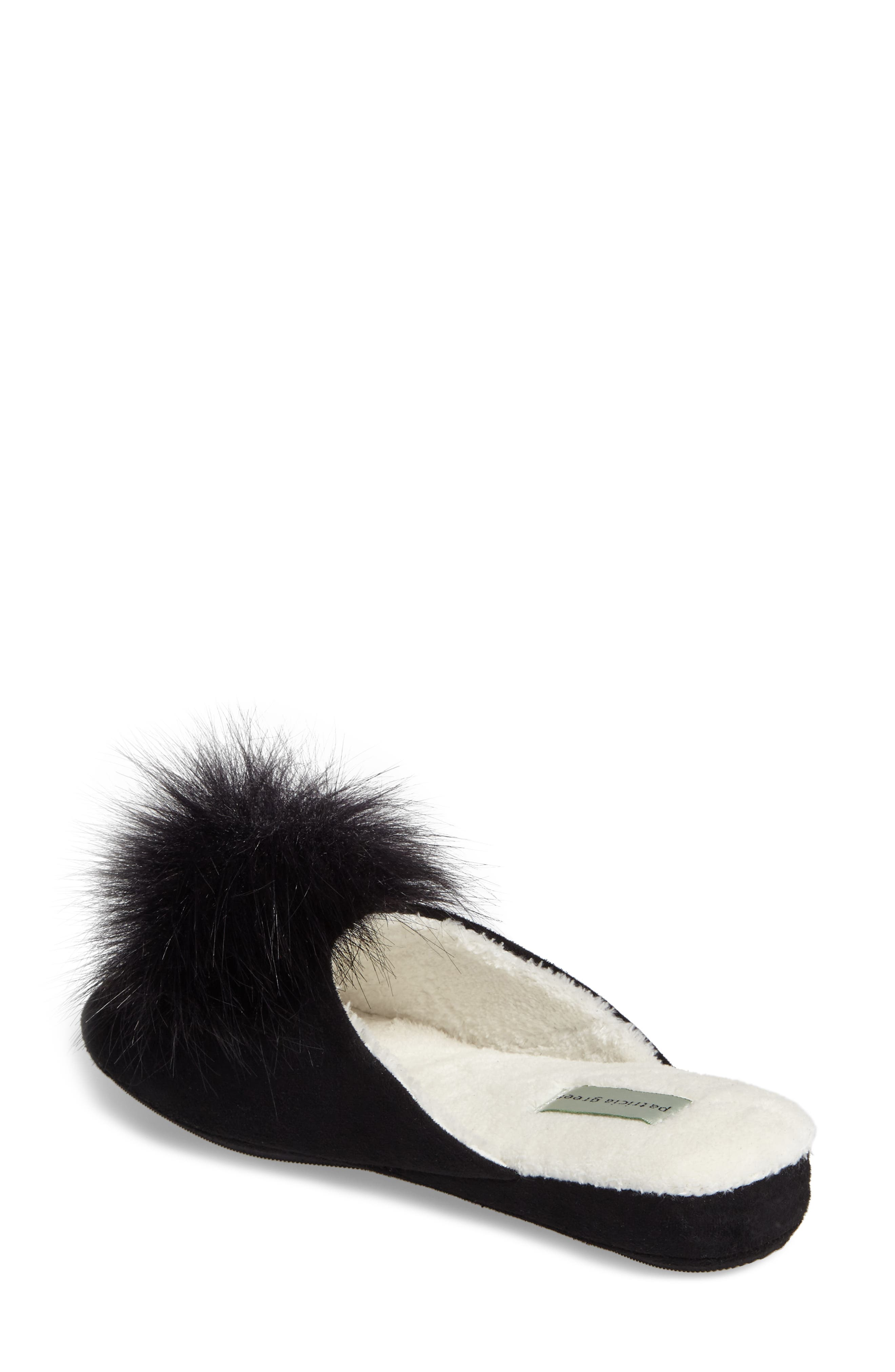 Pretty Pouf Slipper,                             Alternate thumbnail 2, color,                             BLACK SUEDE