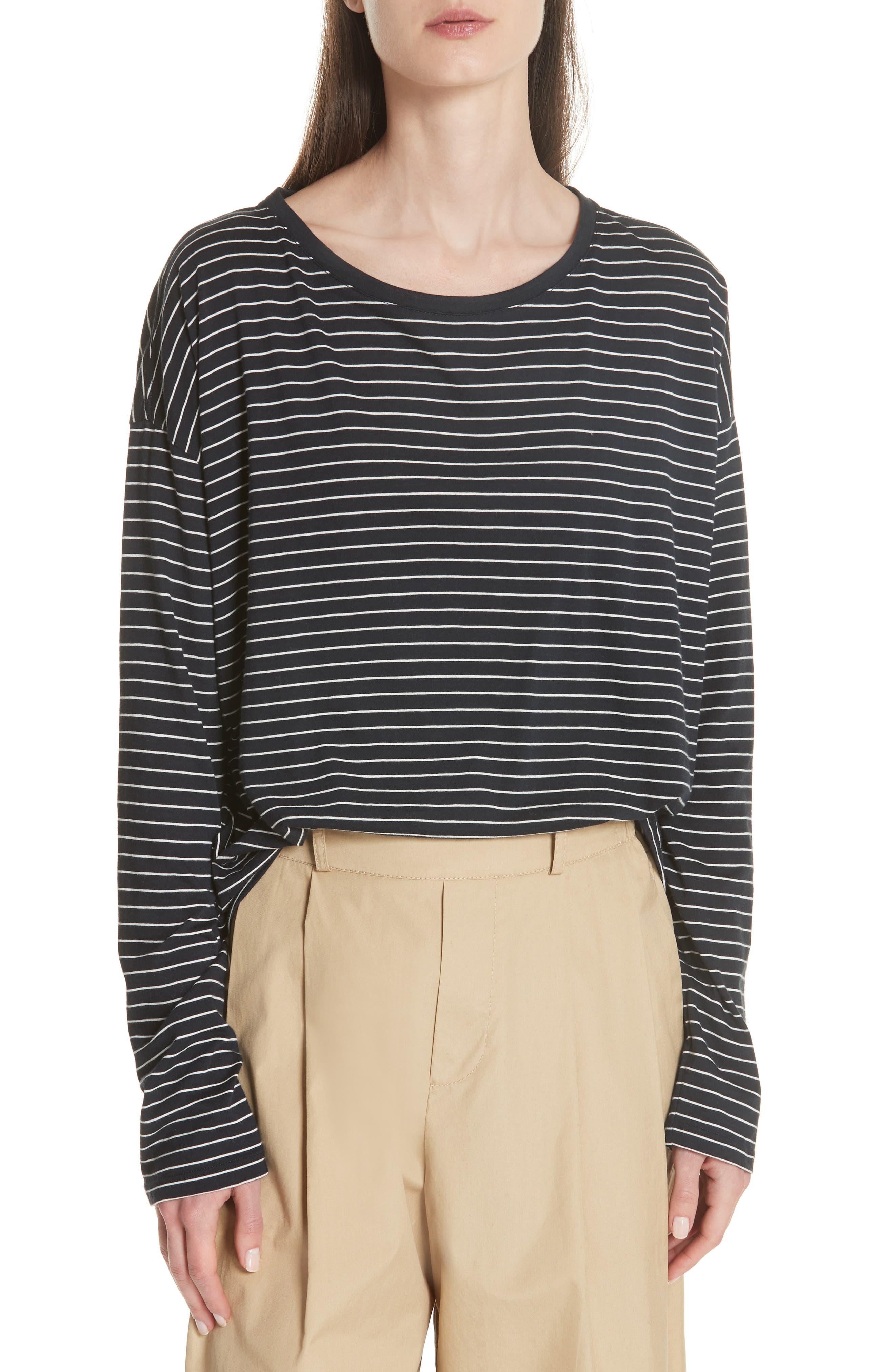 Pencil Stripe Pima Cotton Pullover Top,                             Main thumbnail 1, color,                             COASTAL/ VANILLA
