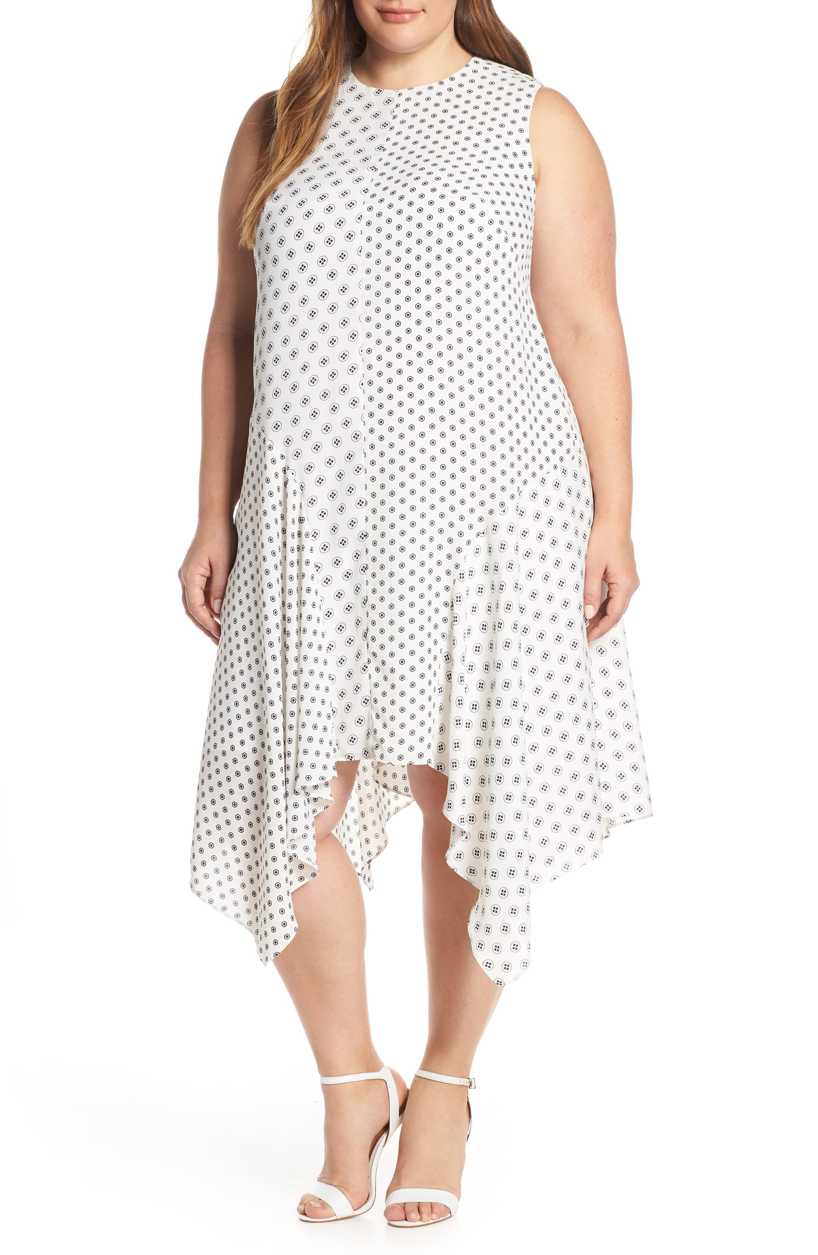 Plus Size Vince Camuto Geo Print Handkerchief Hem Shift Dress, Ivory