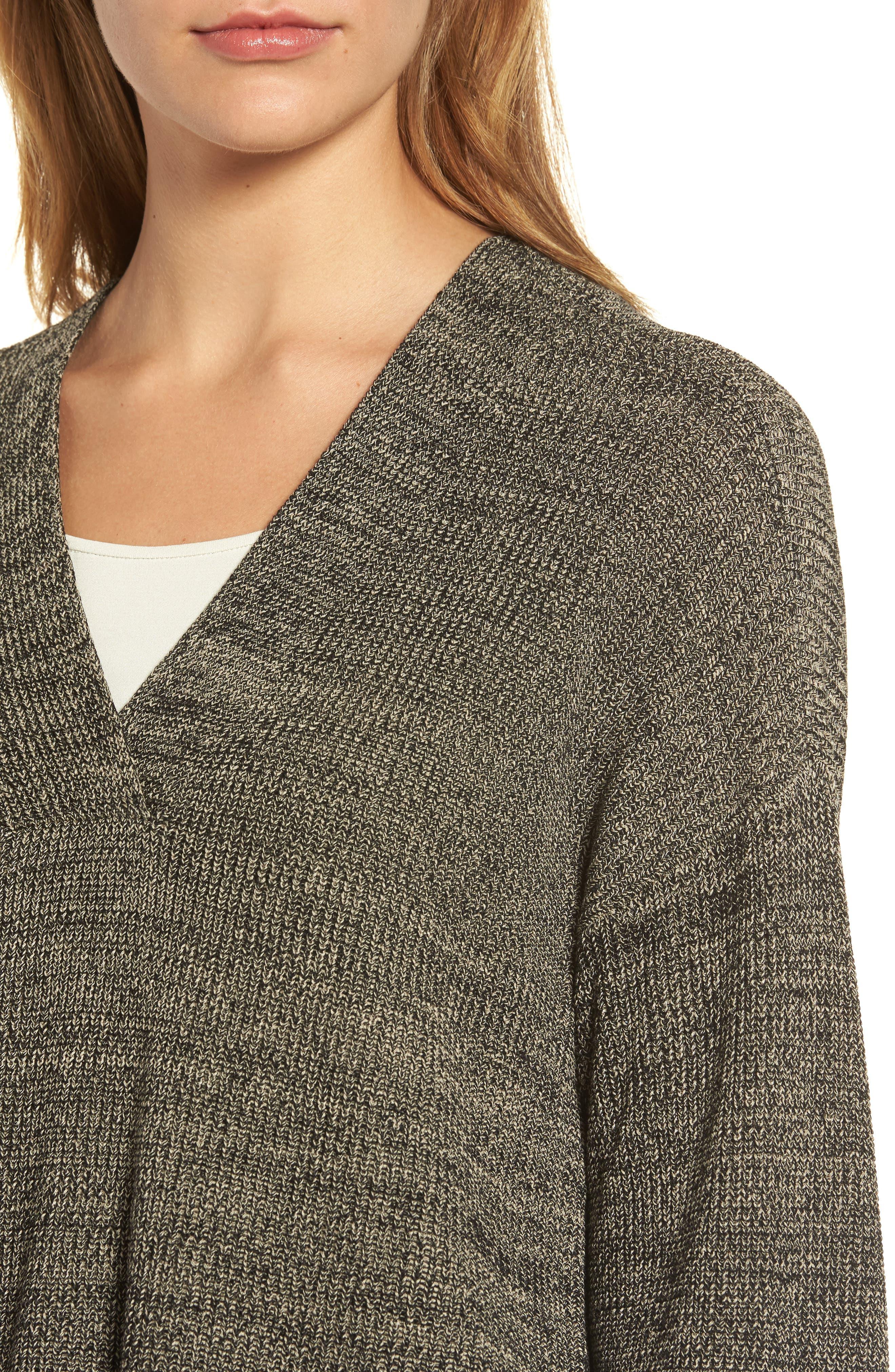 Mélange Knit Tencel<sup>®</sup> Crop Sweater,                             Alternate thumbnail 4, color,                             001