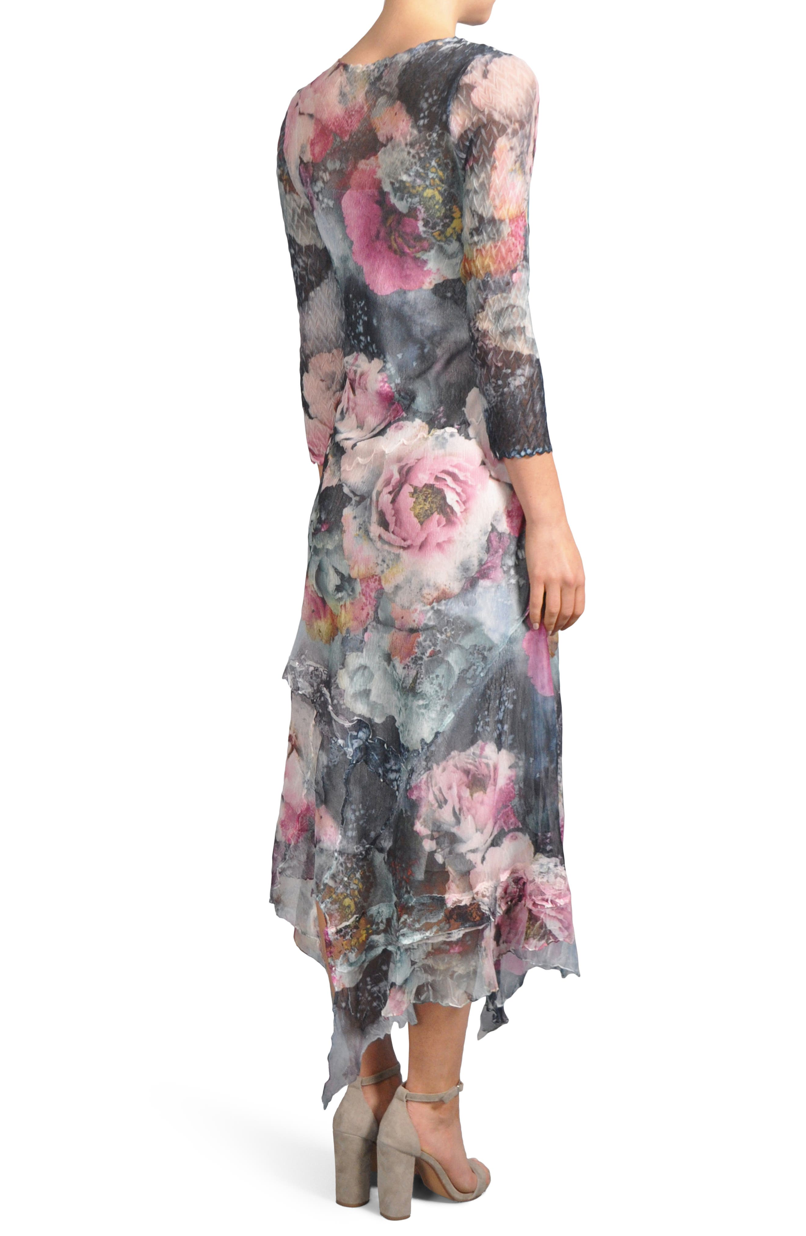 Handkerchied Hem Floral Maxi Dress,                             Alternate thumbnail 2, color,                             491