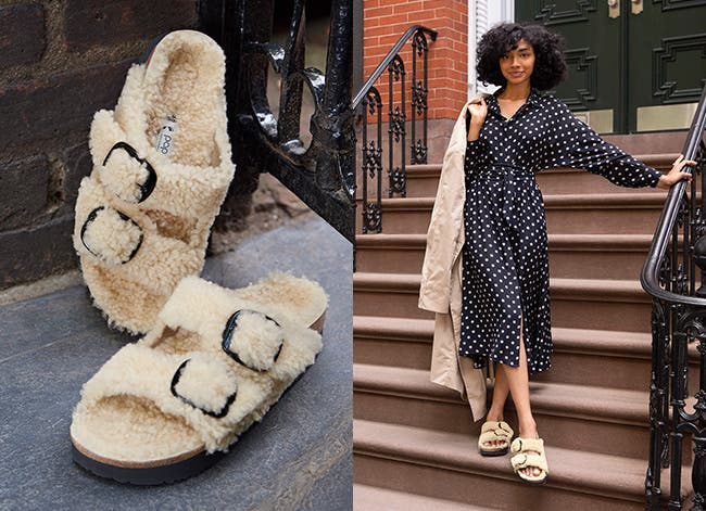 Teddy shearling sandals from the Birkenstock Papillio collection.