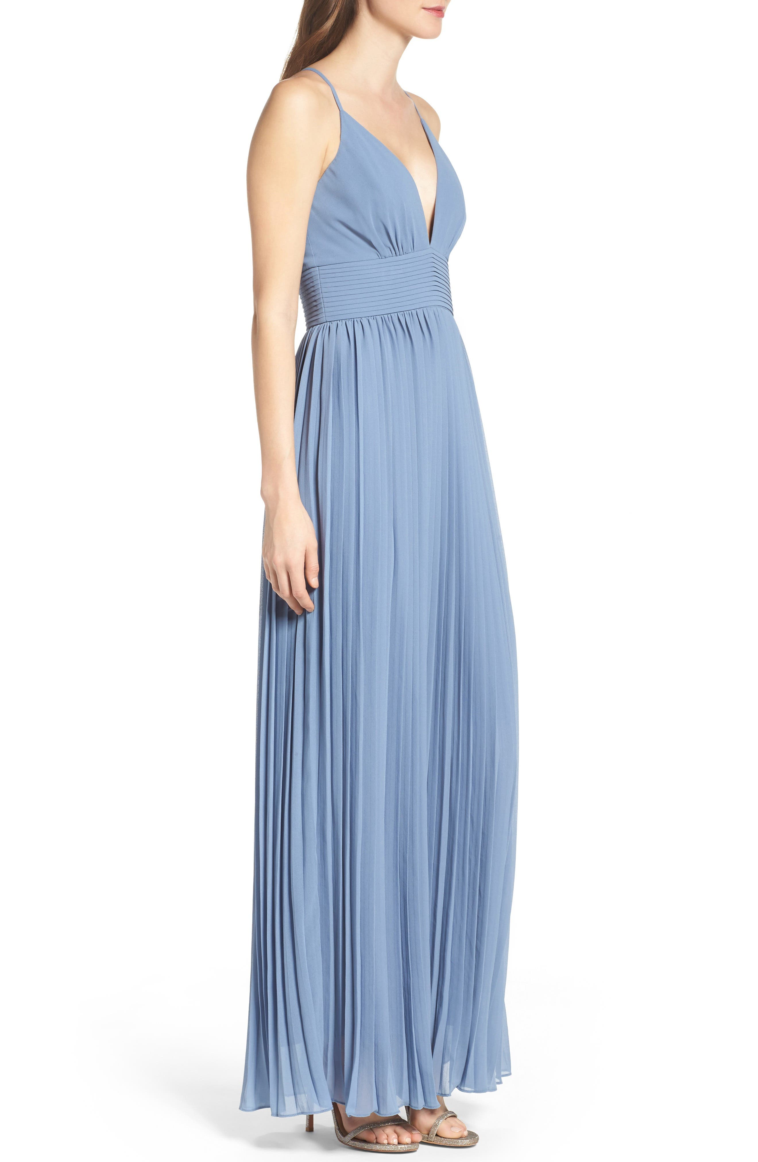 Plunging V-Neck Pleat Georgette Gown,                             Alternate thumbnail 22, color,