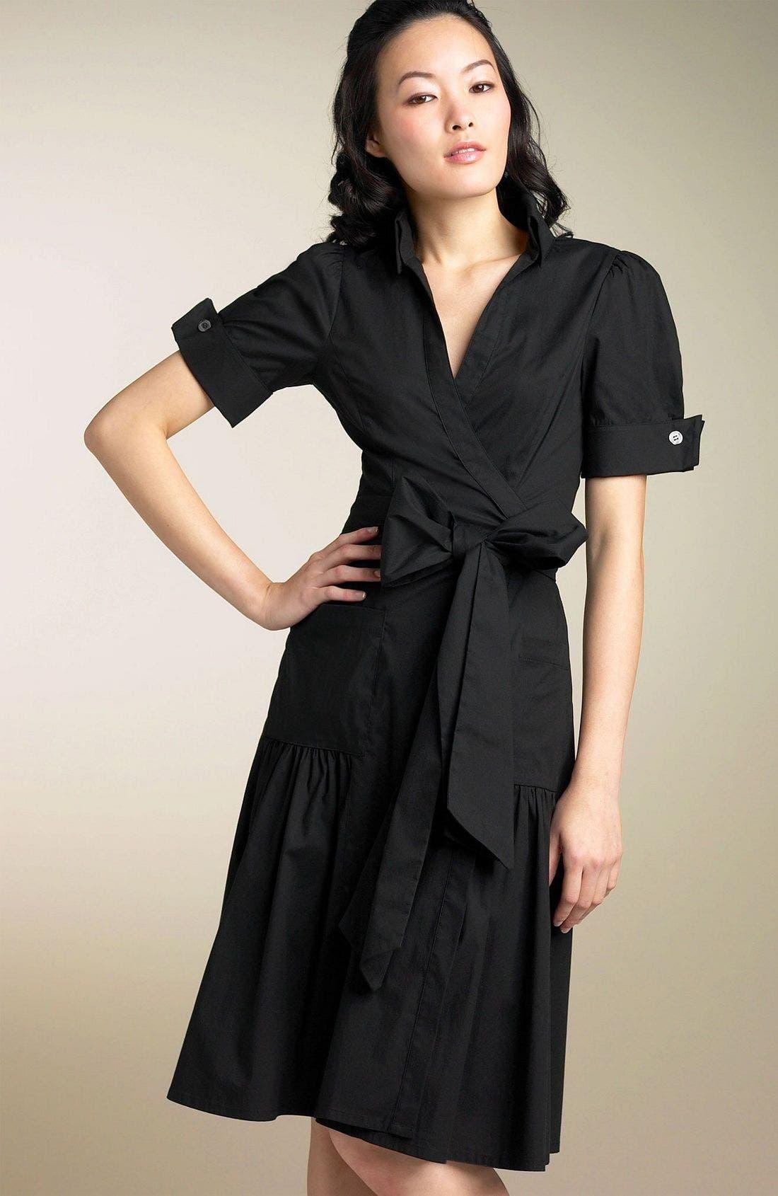 'Bellette' Wrap Dress,                             Main thumbnail 1, color,                             BLK