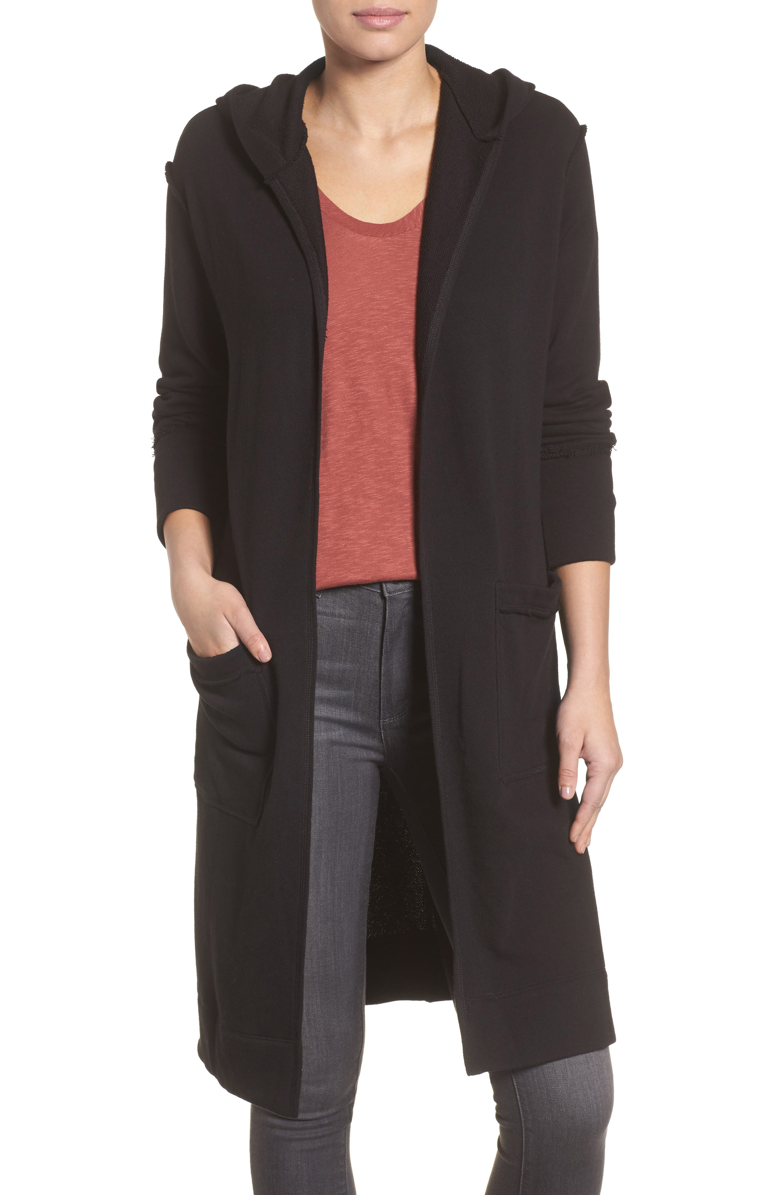 Hooded Long Cardigan,                         Main,                         color,
