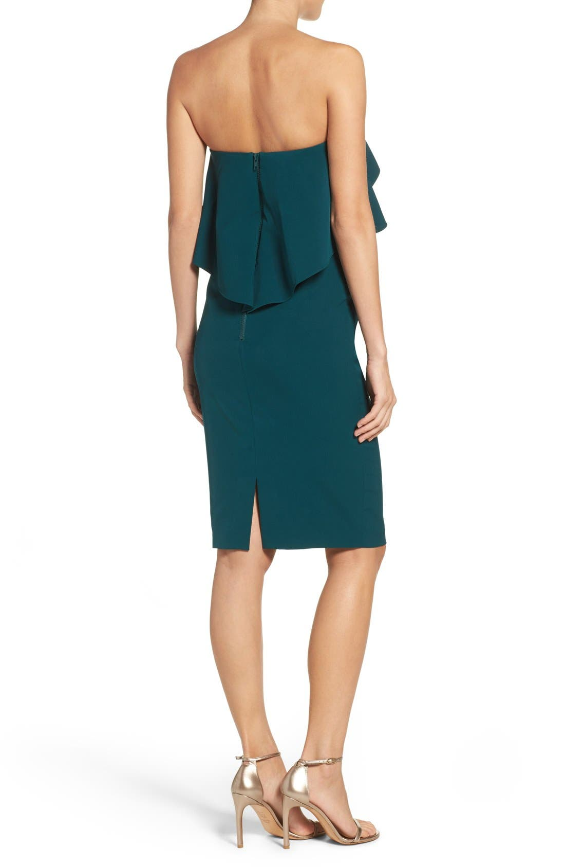 Ruffle Stretch Crepe Sheath Dress,                             Alternate thumbnail 17, color,