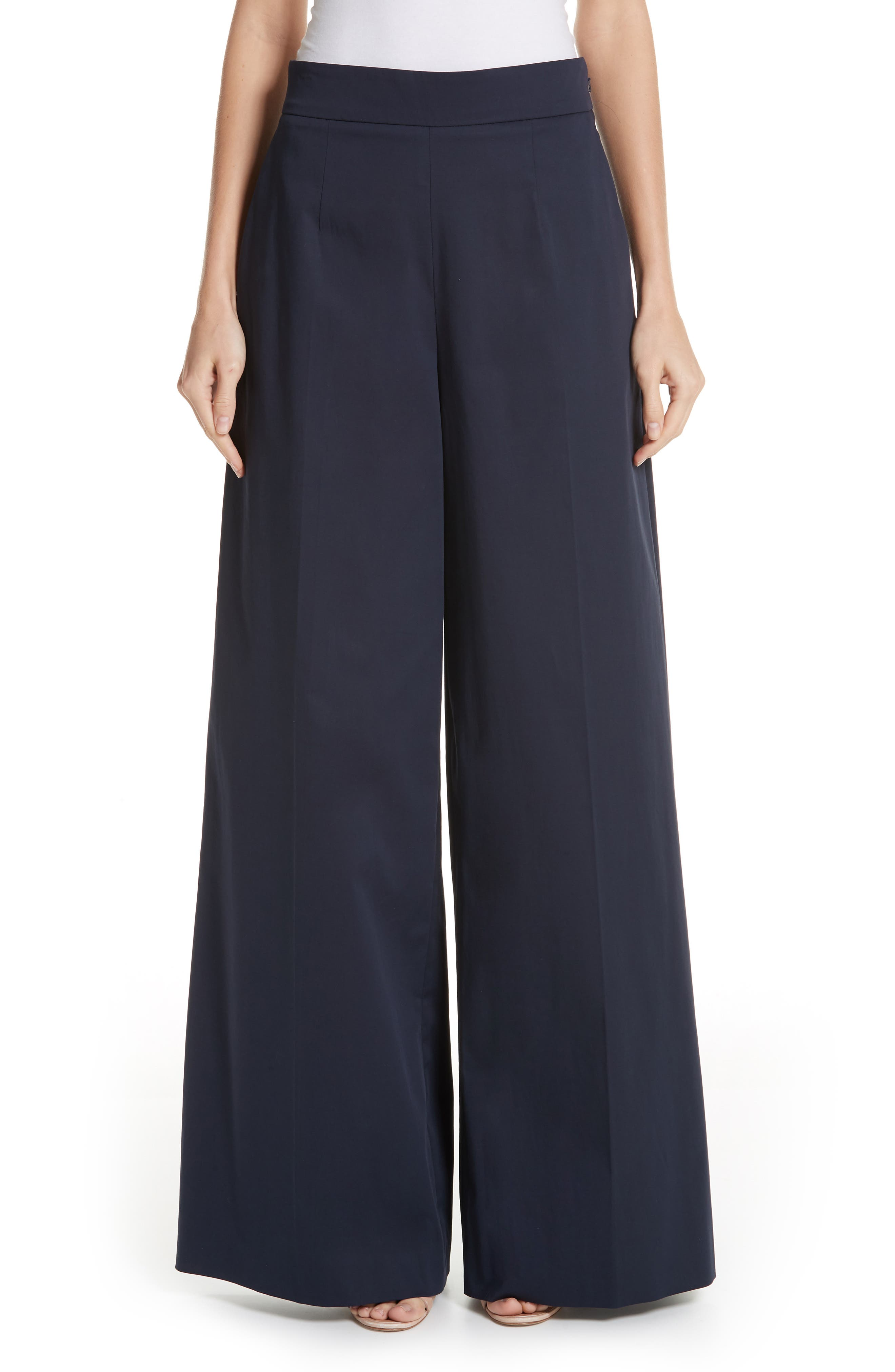 High-Waist Wide-Leg Cotton Pants W/ Lace-Up Detail in Navy