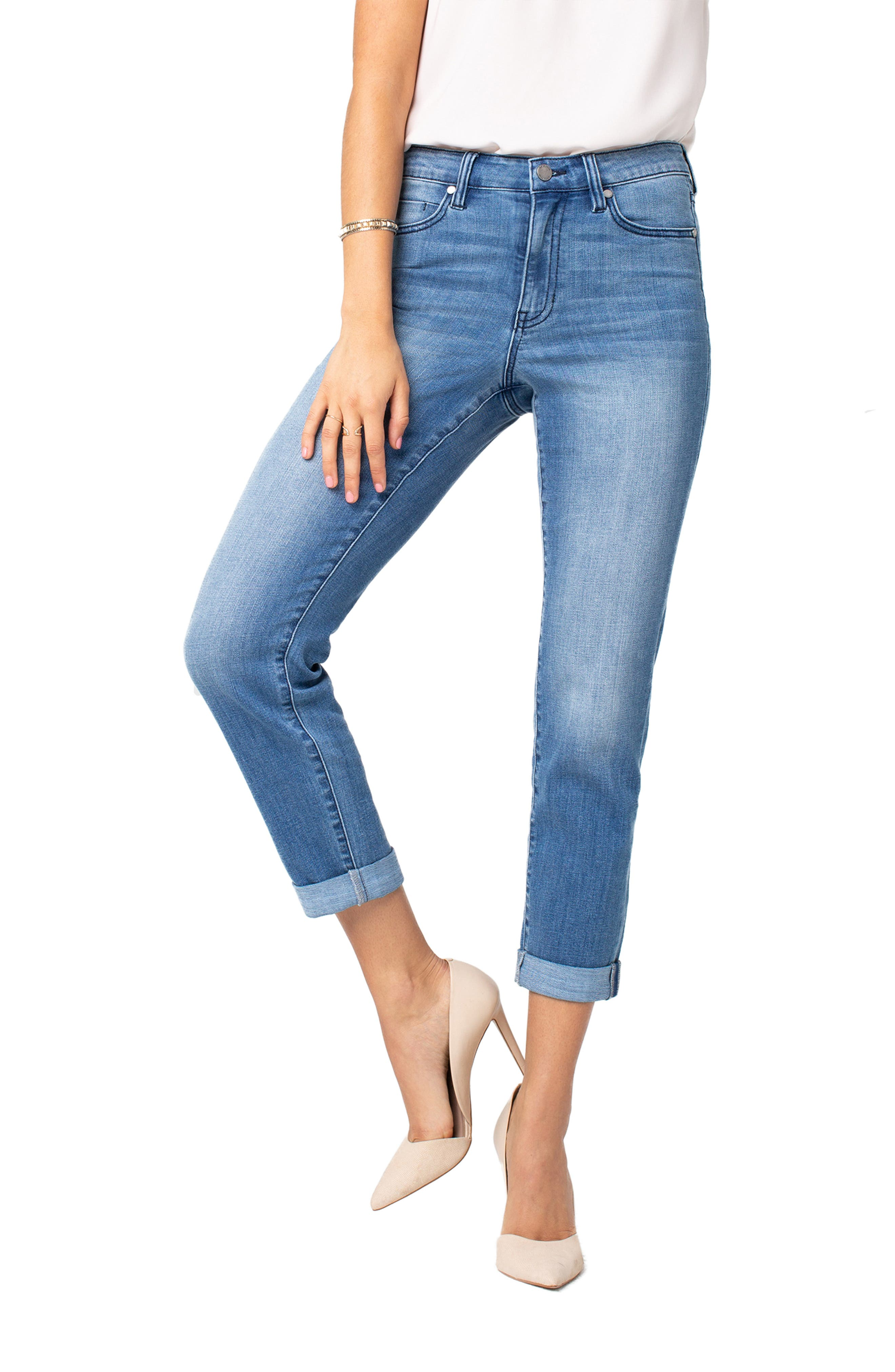 LIVERPOOL,                             Marley High Waist Girlfriend Jeans,                             Alternate thumbnail 4, color,                             CRESTLAKE