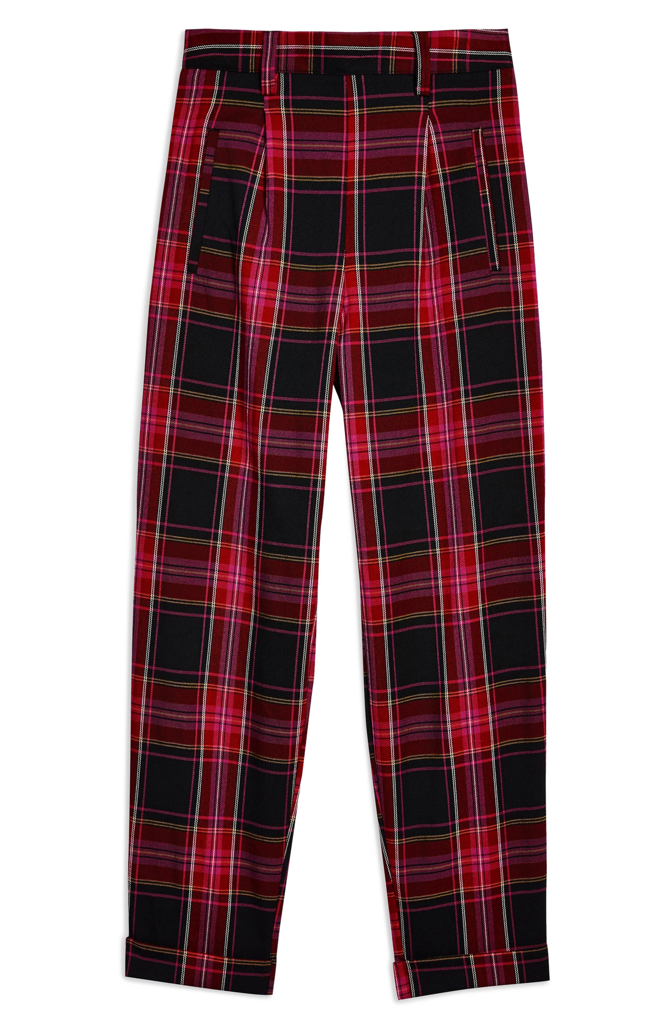 Martha Check Peg Leg Trousers,                             Alternate thumbnail 3, color,                             PINK MULTI