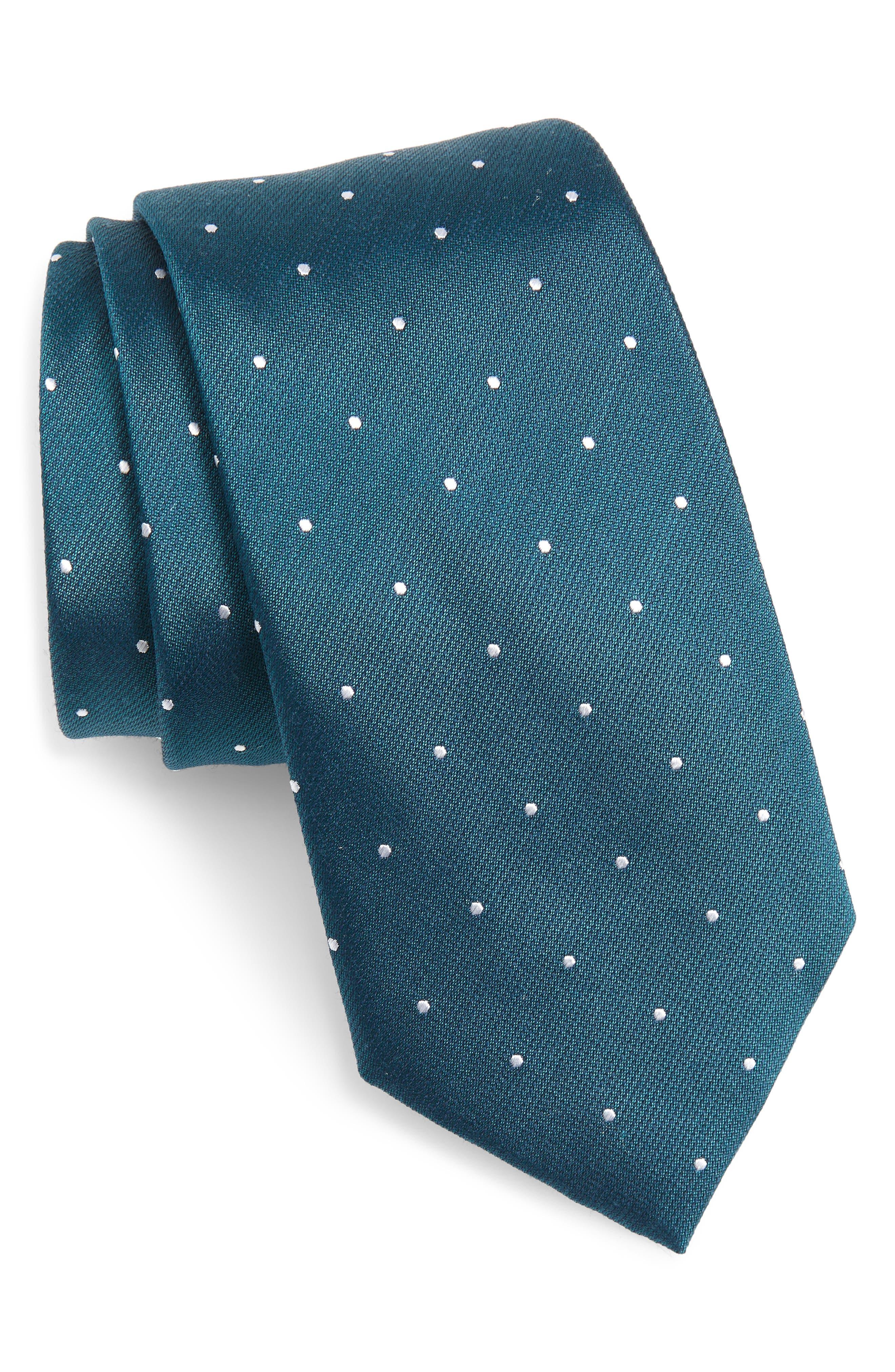 Dot Silk & Wool X-Long Tie,                             Main thumbnail 1, color,                             TEAL