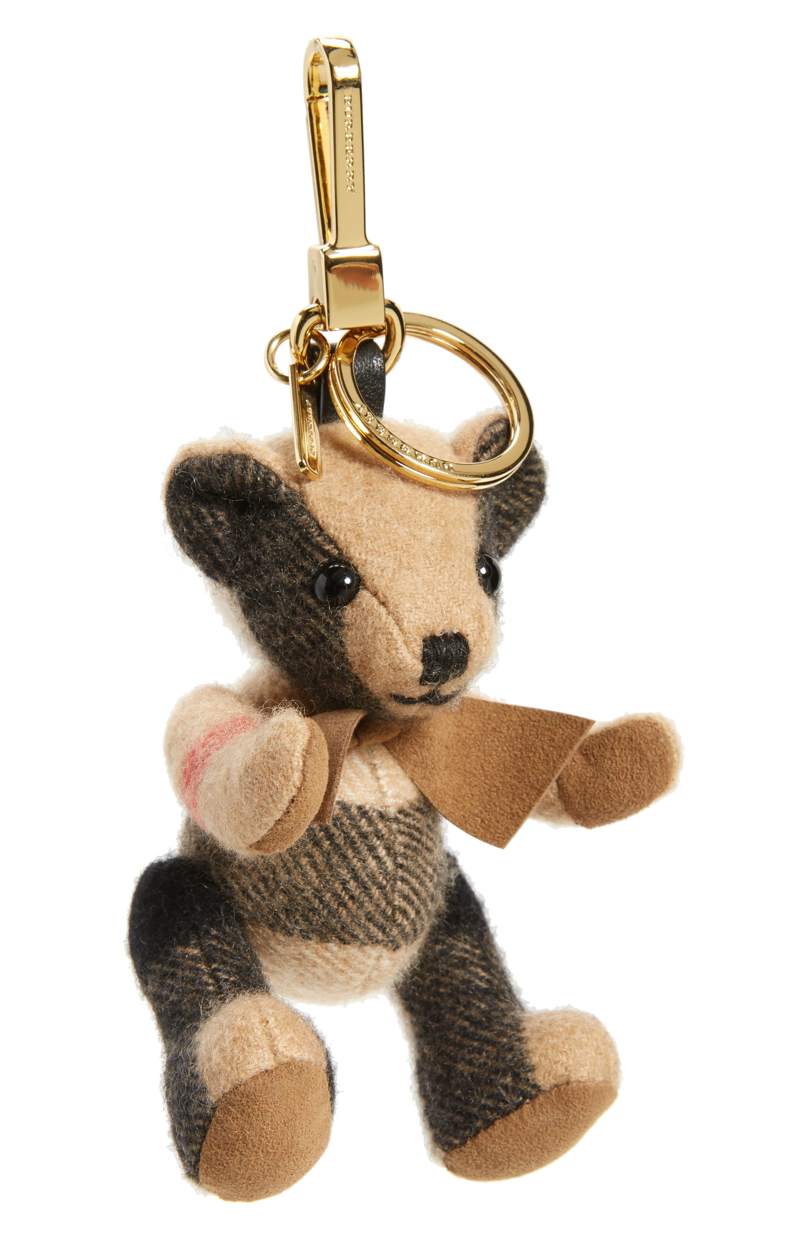 'Thomas Bear' Check Cashmere Bag Charm, Main, color, 200