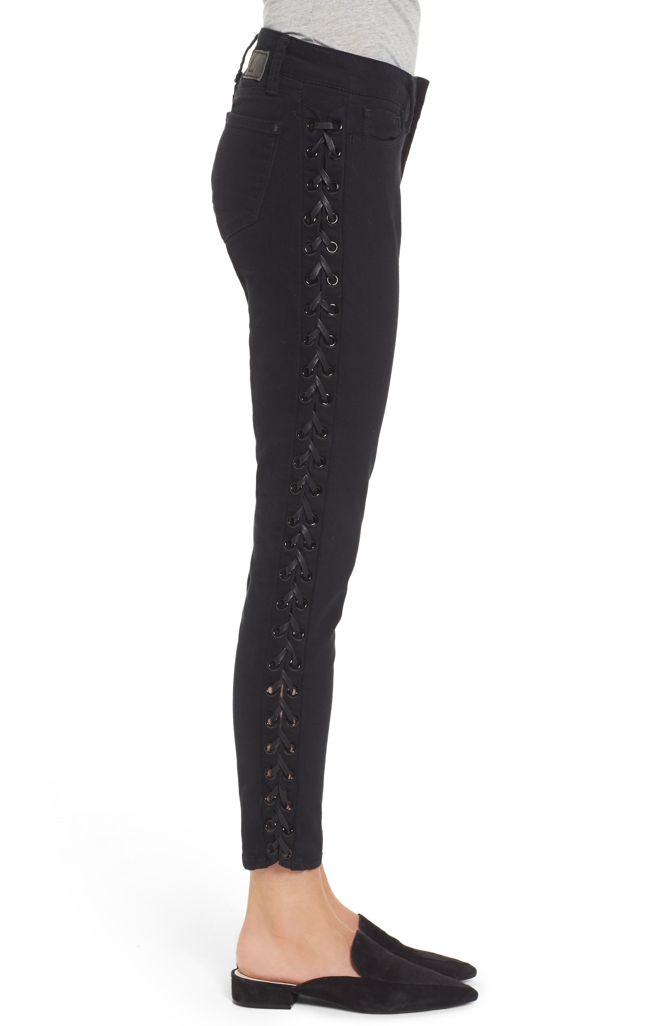 Adriana Lace-Up Super Skinny Jeans,                             Alternate thumbnail 3, color,                             001